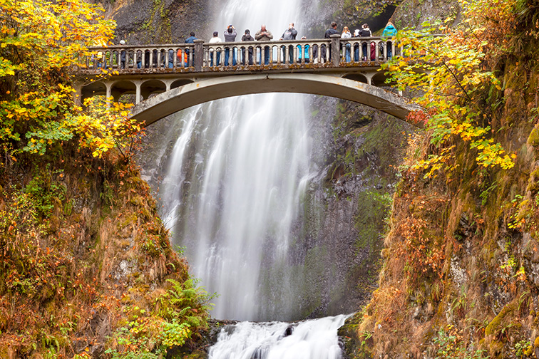 Multnomah Falls Waterfall Autumn, Fall Bridge Columbia River Gorge, Oregon; Courtesy Bill Perry/Shutterstock