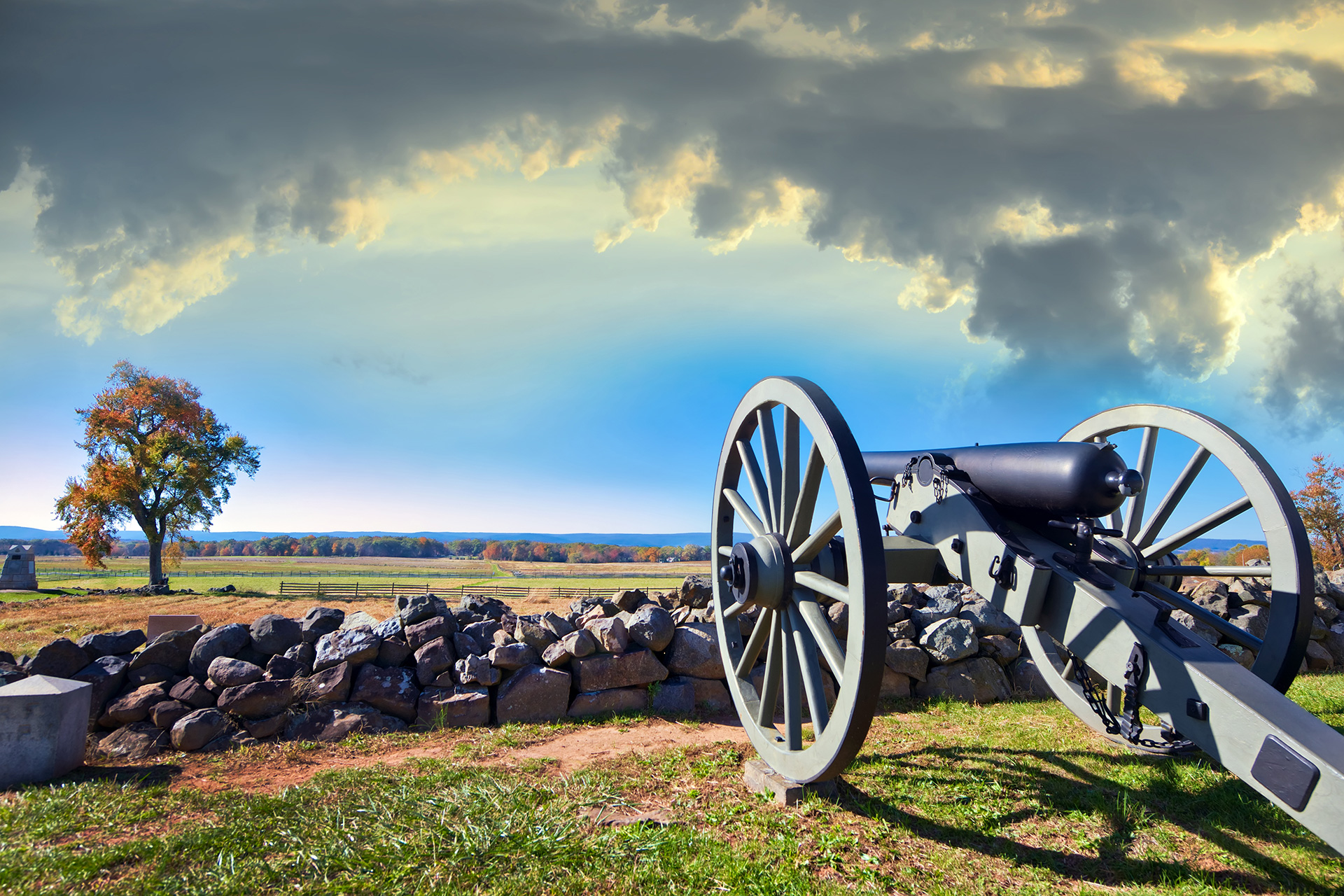 Civil war canon behind a stone wall on the Gettysburg battlefield; Courtesy of Lone Wolf Photography/Shutterstock