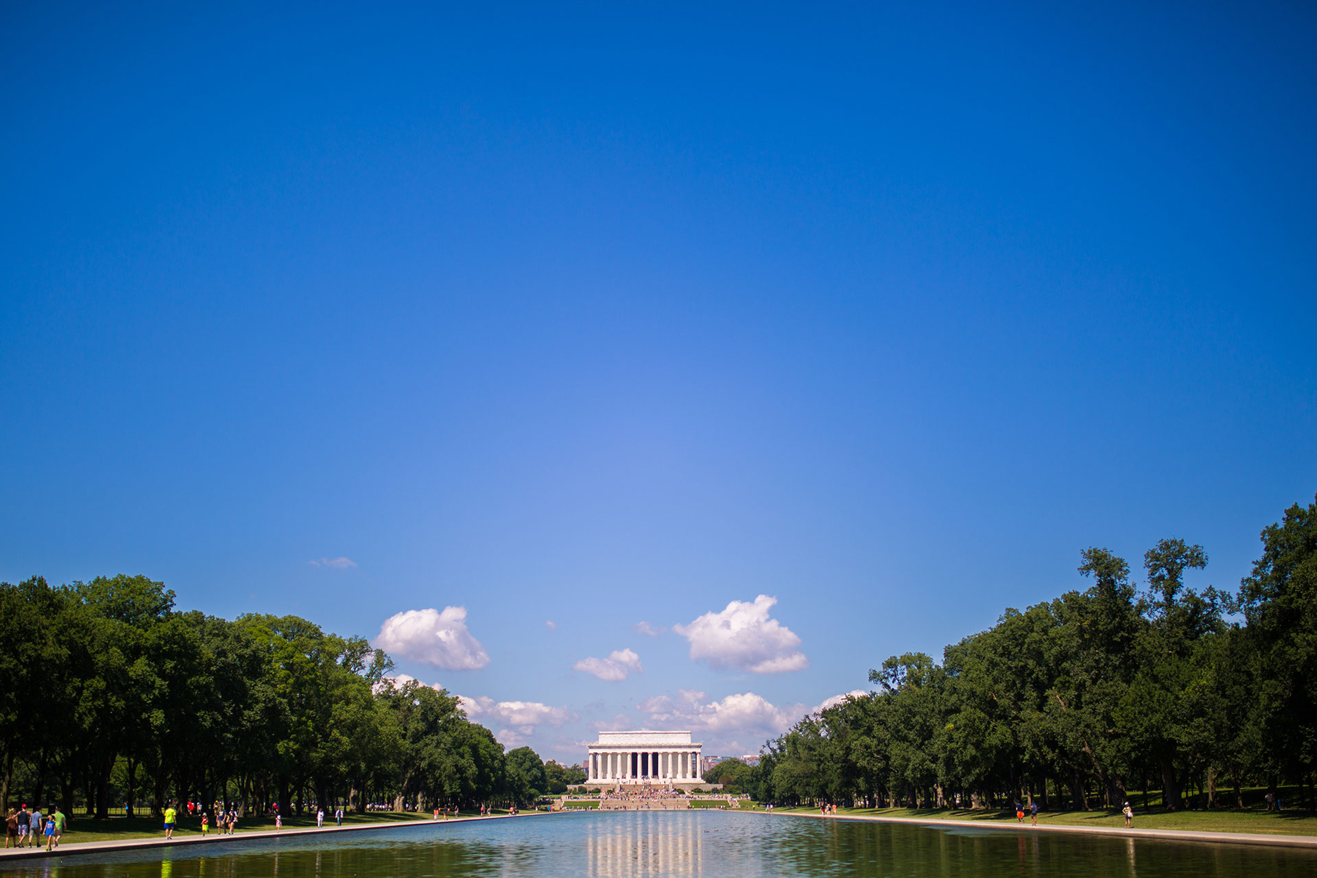 Lincoln Memorial Reflecting Pool with the Memorial itself in the background in Washington, D.C.