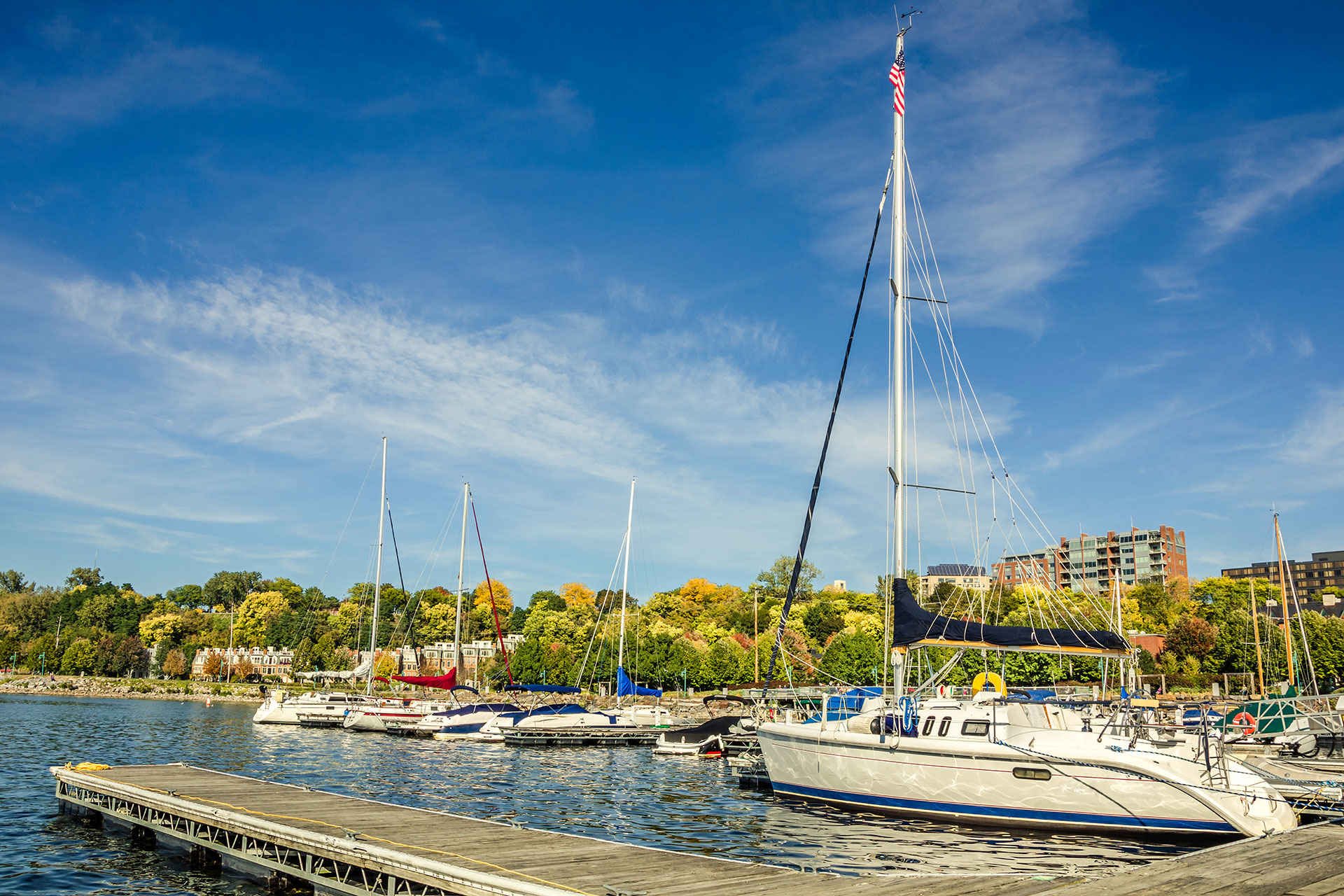 boats on a dock in Lake Champlain, Vermont; Courtesy of Albert Pego/Shutterstock.com