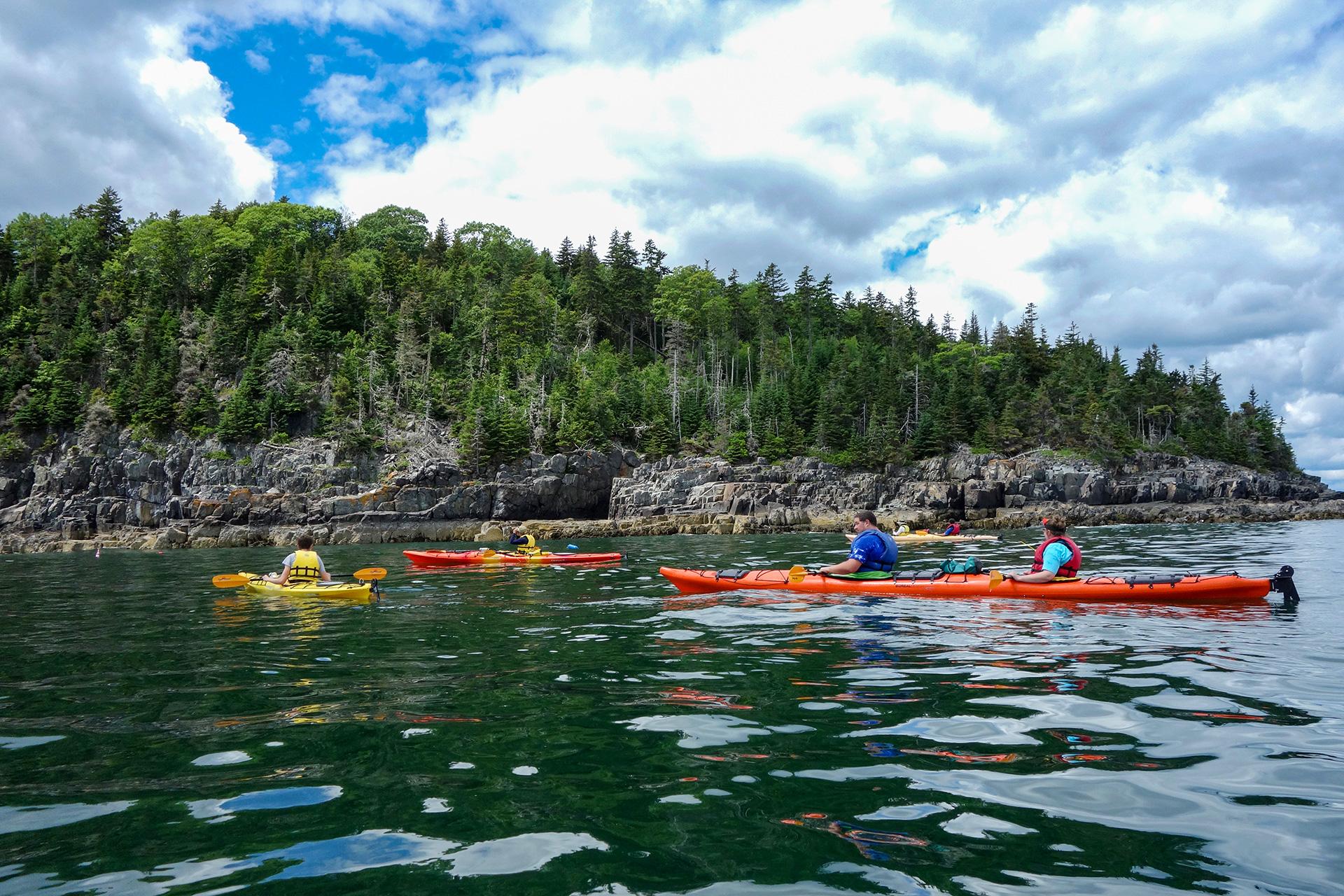 Tourists ride sea kayaks in Bar Harbor; Courtesy of Leonard Zhukovsky/Shutterstock
