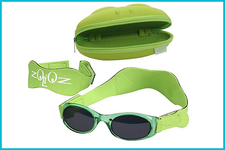 Tuga Baby/Toddler Sunglasses and Hardshell Case in Lime Green; Courtesy of Amazon