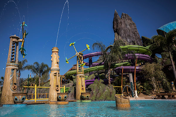 Ohyah and Ohno Drop Slides at Universal's Volcano Bay.