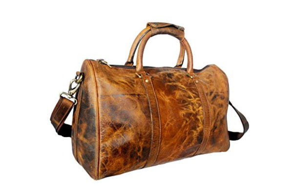 Leather Travel Duffle Bag.