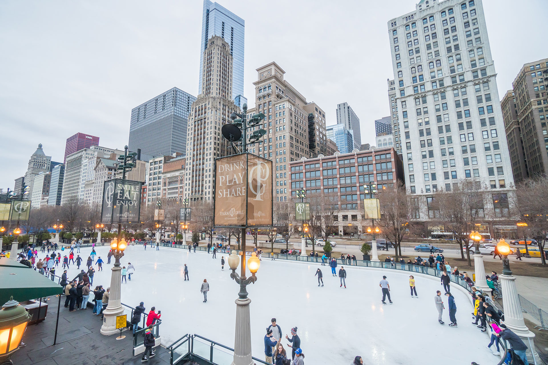 Ice skating at McCormick Tribune Plaza in Chicago, Illinois; Courtesy of Miune/Shutterstock.com