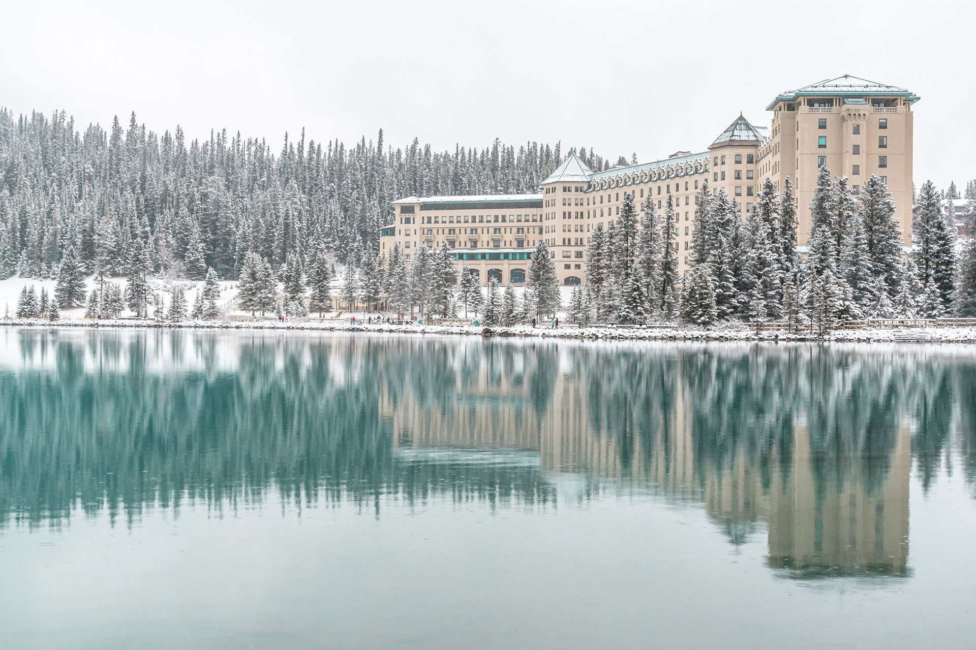 Lake Louise in Banff National Park, Canada during wintertime.