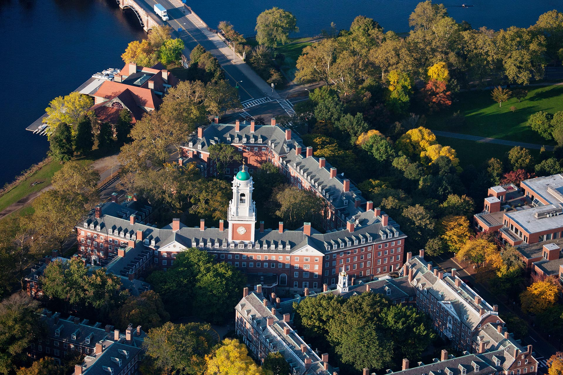 An aerial shot of Harvard's campus; Photo Courtesy of Joseph Sohm/Shutterstock.com