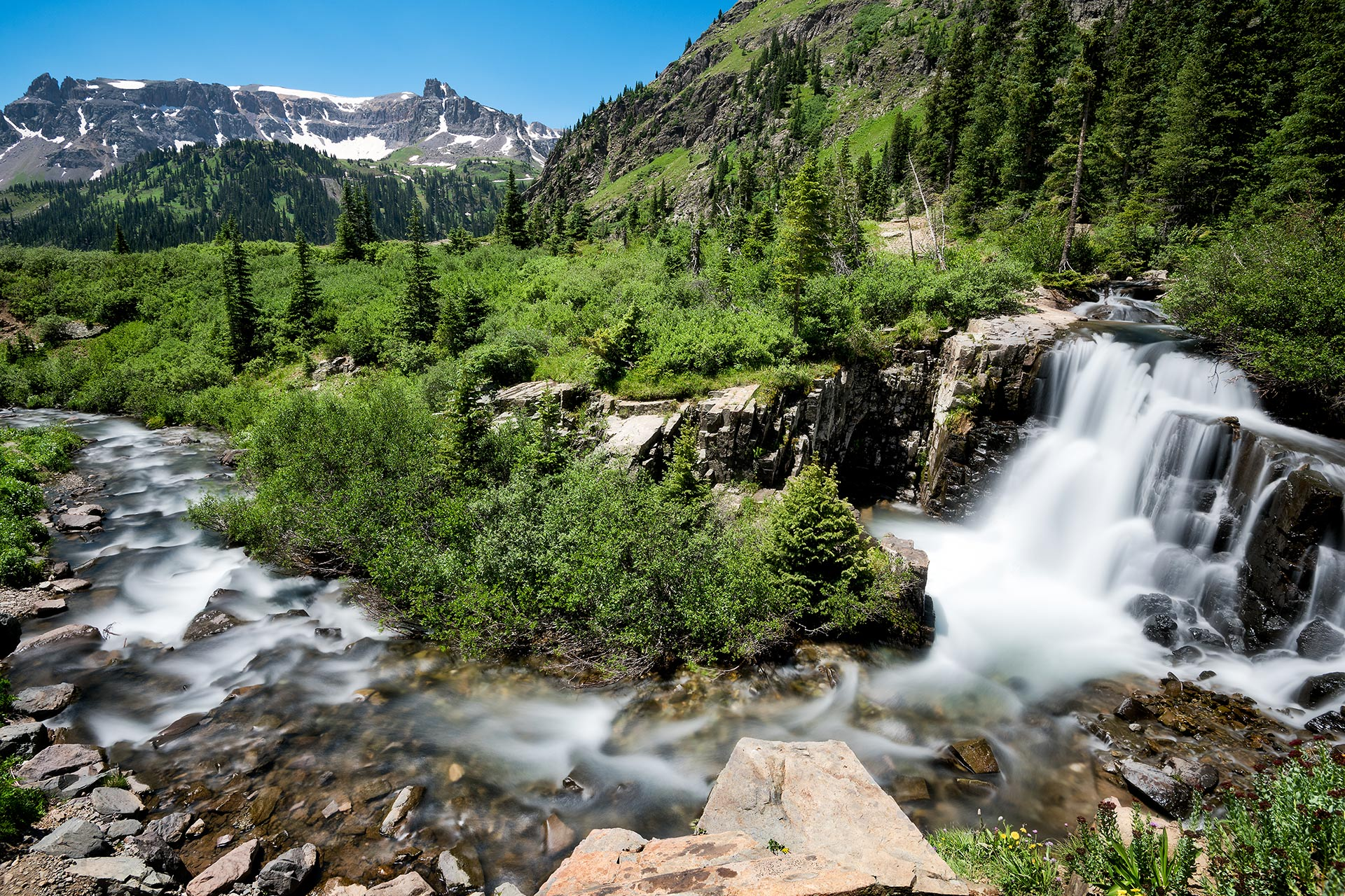 Waterfall at Yankee Boy Basin, near Ouray, Colorado.