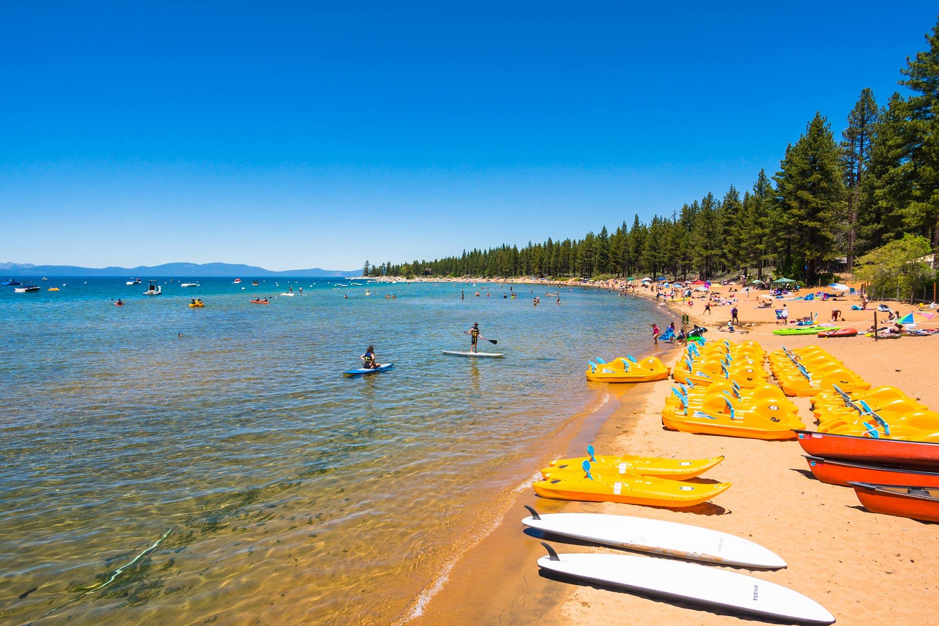 A very family-friendly beach in Lake Tahoe, California.