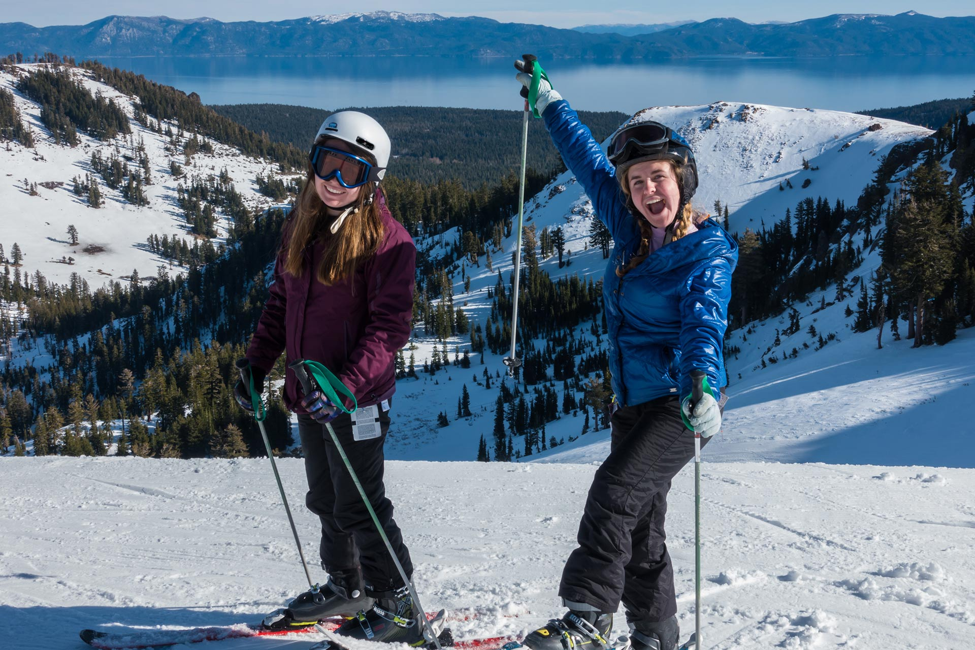 Two teen girls getting ready to rip it down the mountain at Northstar in California.