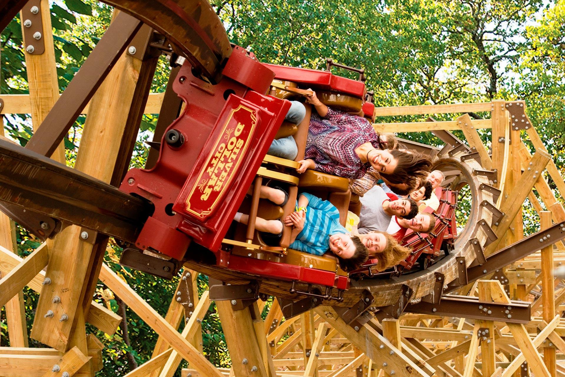 A rollercoaster at Silver Dollar City in Branson, Missouri.