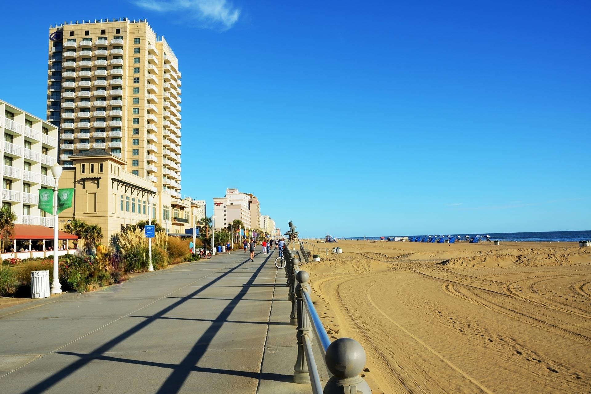 The boardwalk in Virginia Beach.