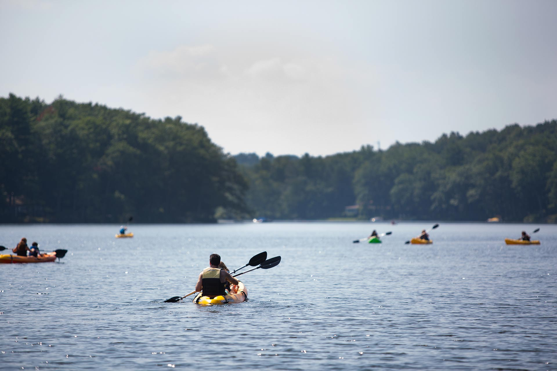 Kayaking at Woodloch Pines in the Poconos, Pennsylvania.
