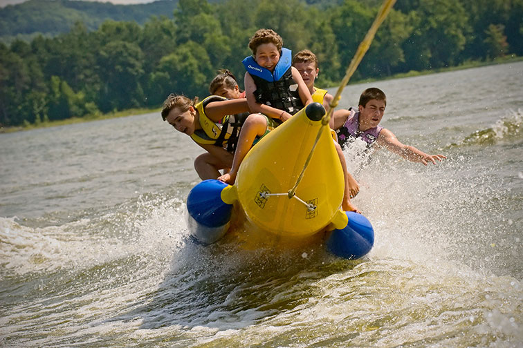 Banana Boating at Tyler Place Family Resort in Vermont