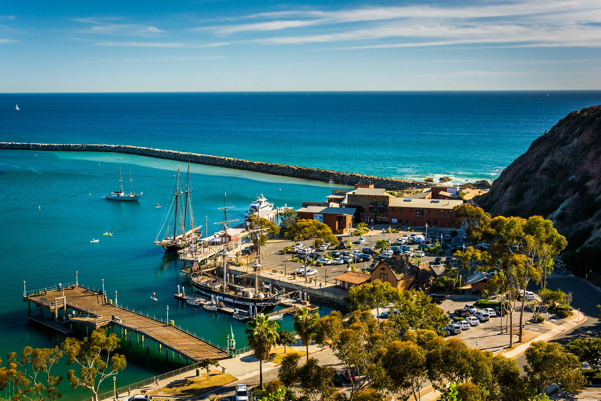 View of the harbor from Ken Sampson Overlook Park in Dana Point, California