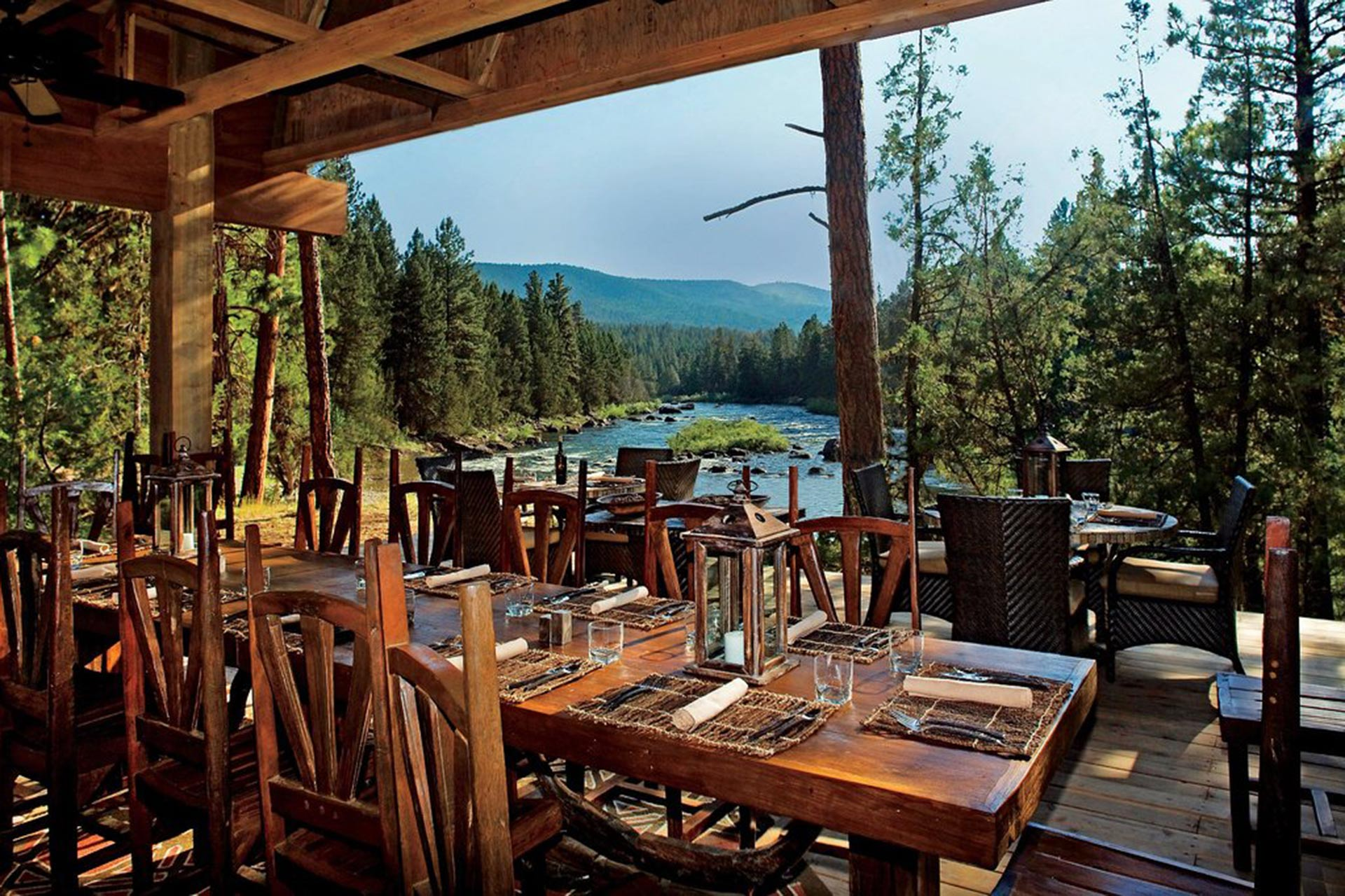 River Camp Dining Pavilion at The Resort at Paws Up in Montana.