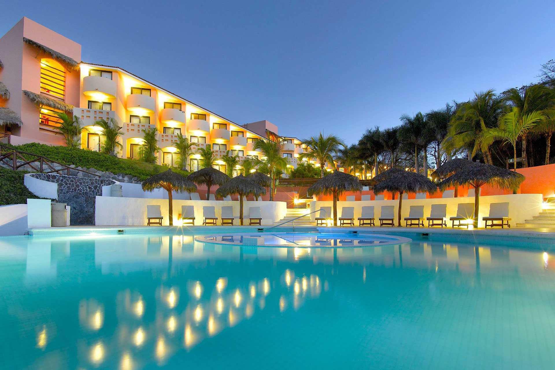 Pool at Night at Grand Palladium Vallarta Resort & Spa; Courtesy of Grand Palladium Vallarta Resort & Spa