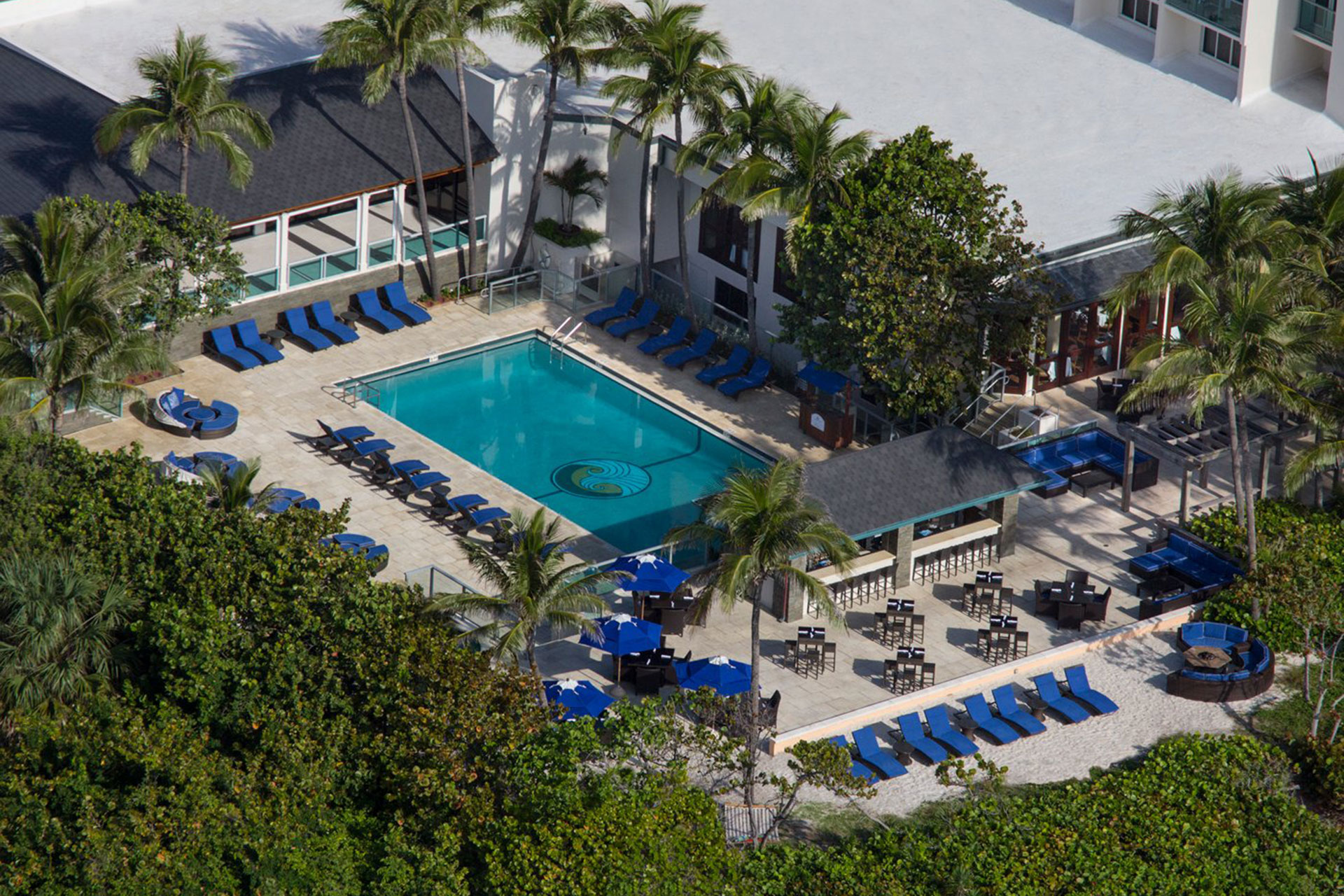 Aerial View of Pool at Jupiter Beach Resort & Spa in Jupiter, Florida; Courtesy of Jupiter Beach Resort
