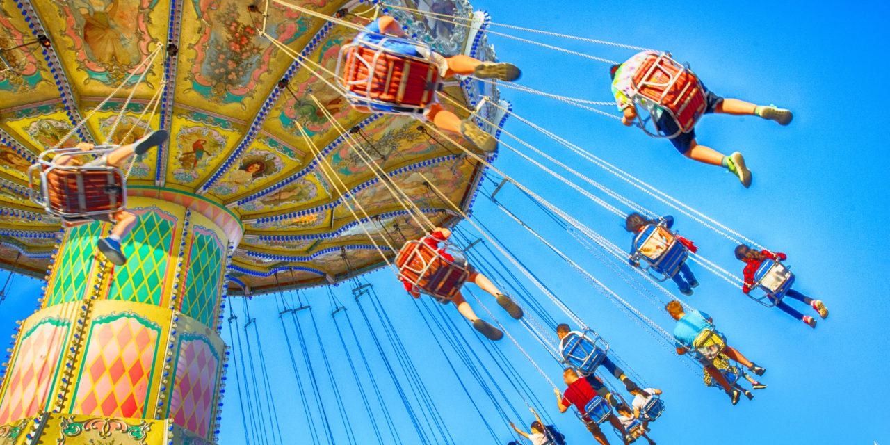 Swing ride at an amusement park