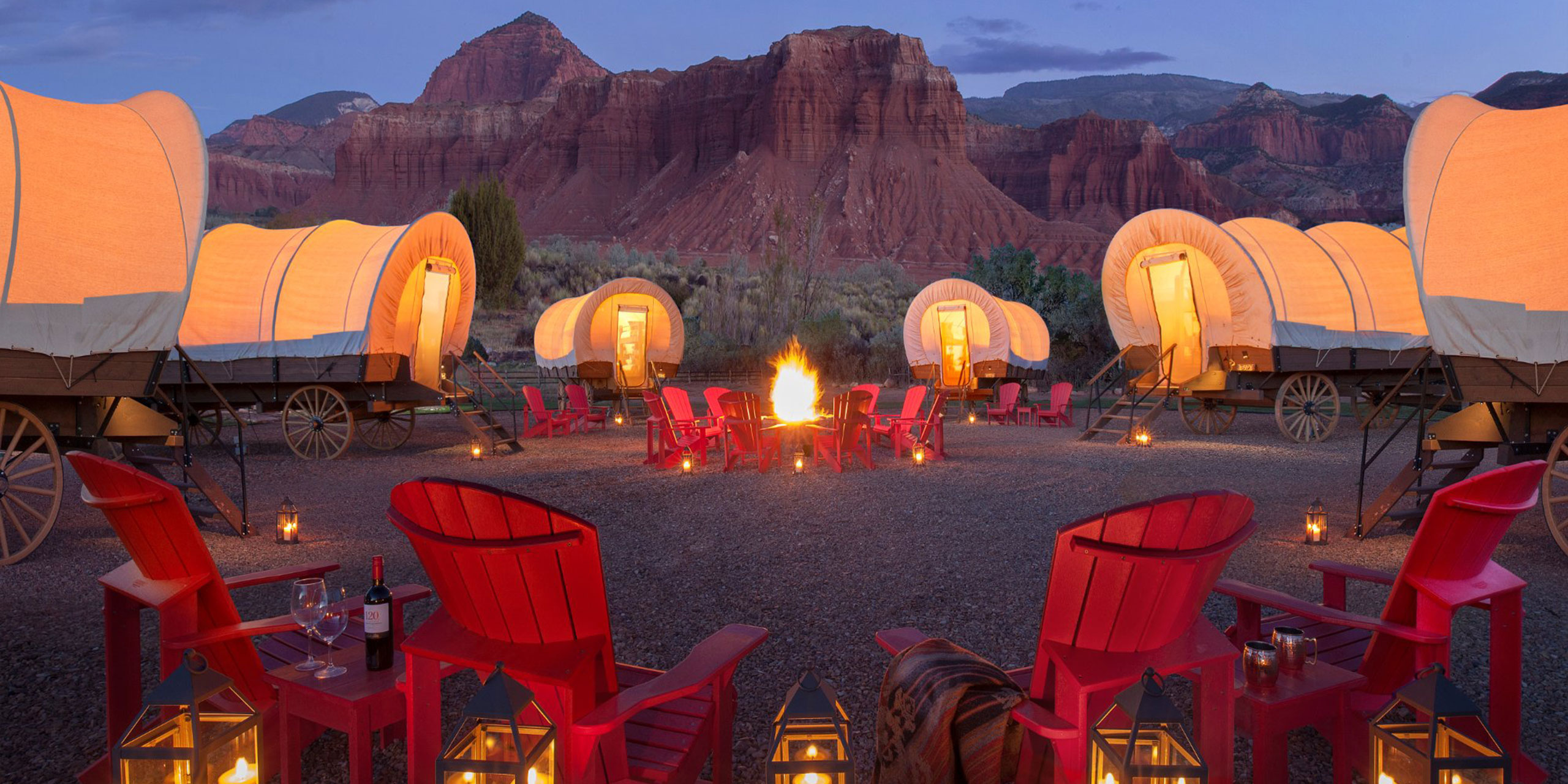 Conestoga Wagon Camping at Capitol Reef Resort; Courtesy of Capitol Reef Resort