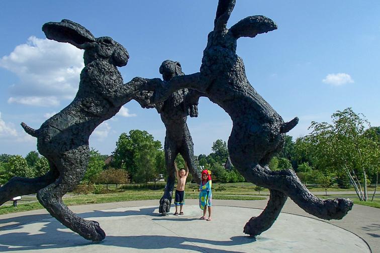 Dublin, Ohio giant dancing rabbit sculpture; Courtesy TripAdvisor Traveler/mitsugirly