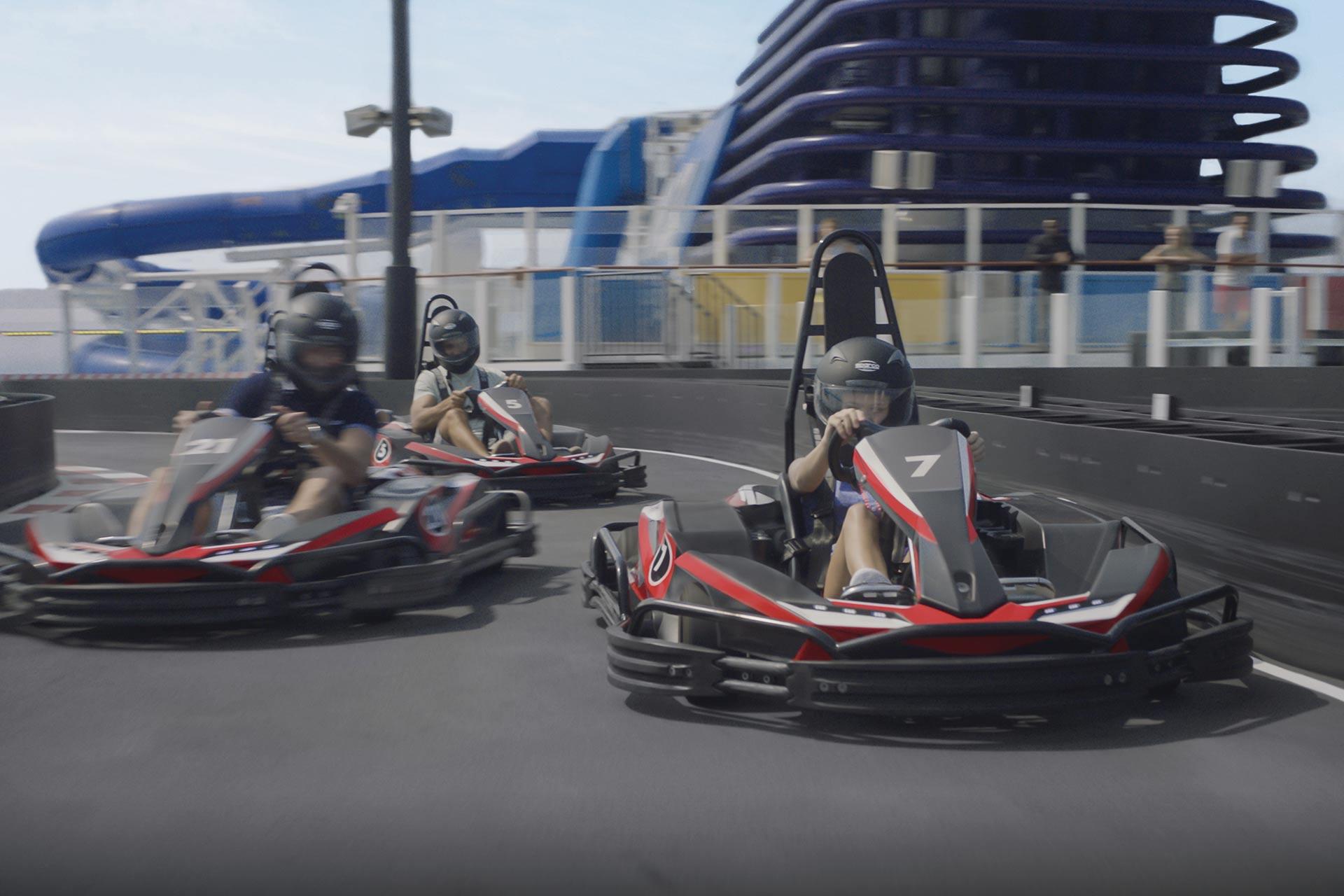 Go karts on Norwegian Bliss