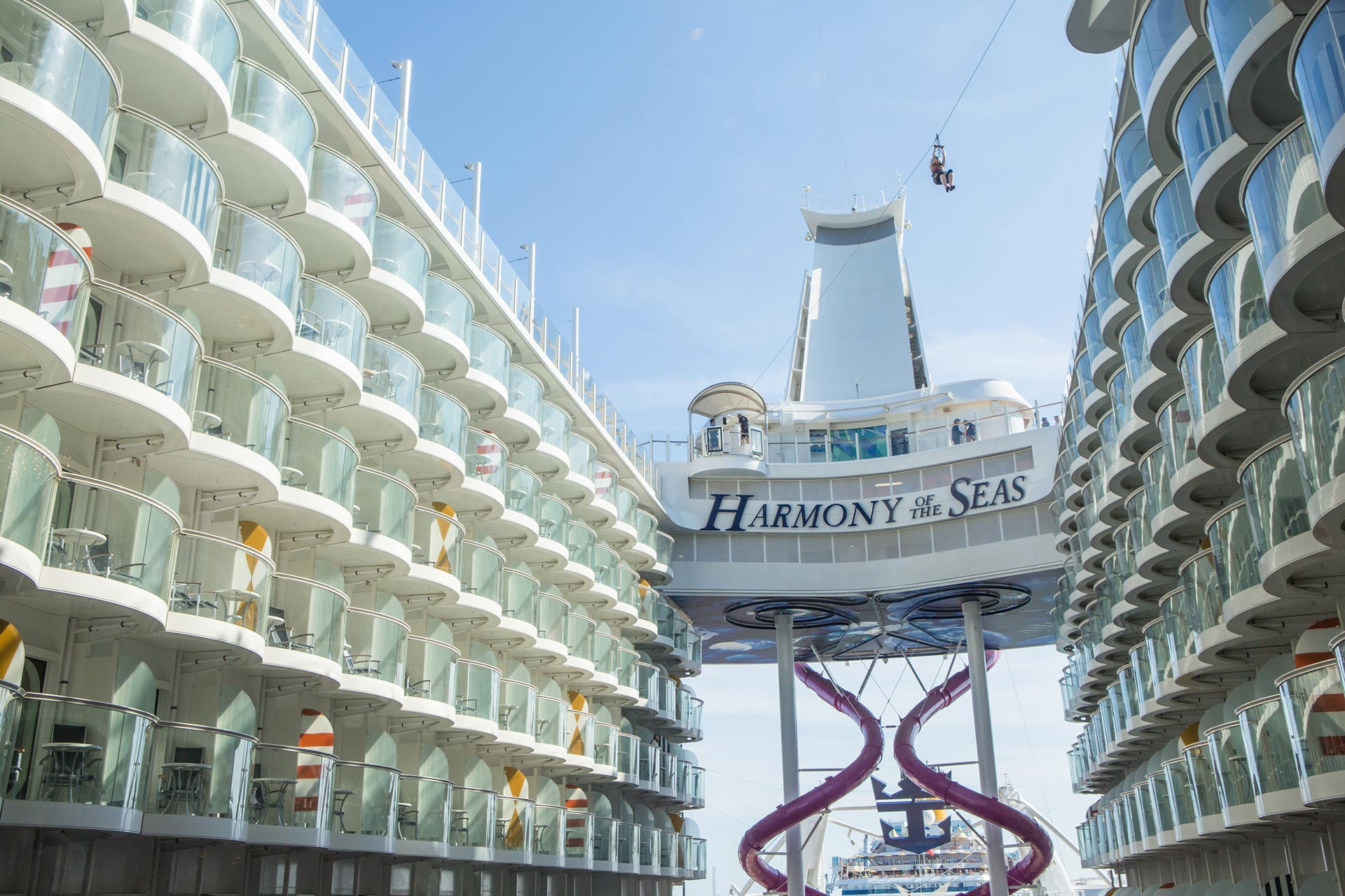 ZIpline on Royal Caribbean's Harmony, Oasis, Allure and Symphony of the Seas Ships