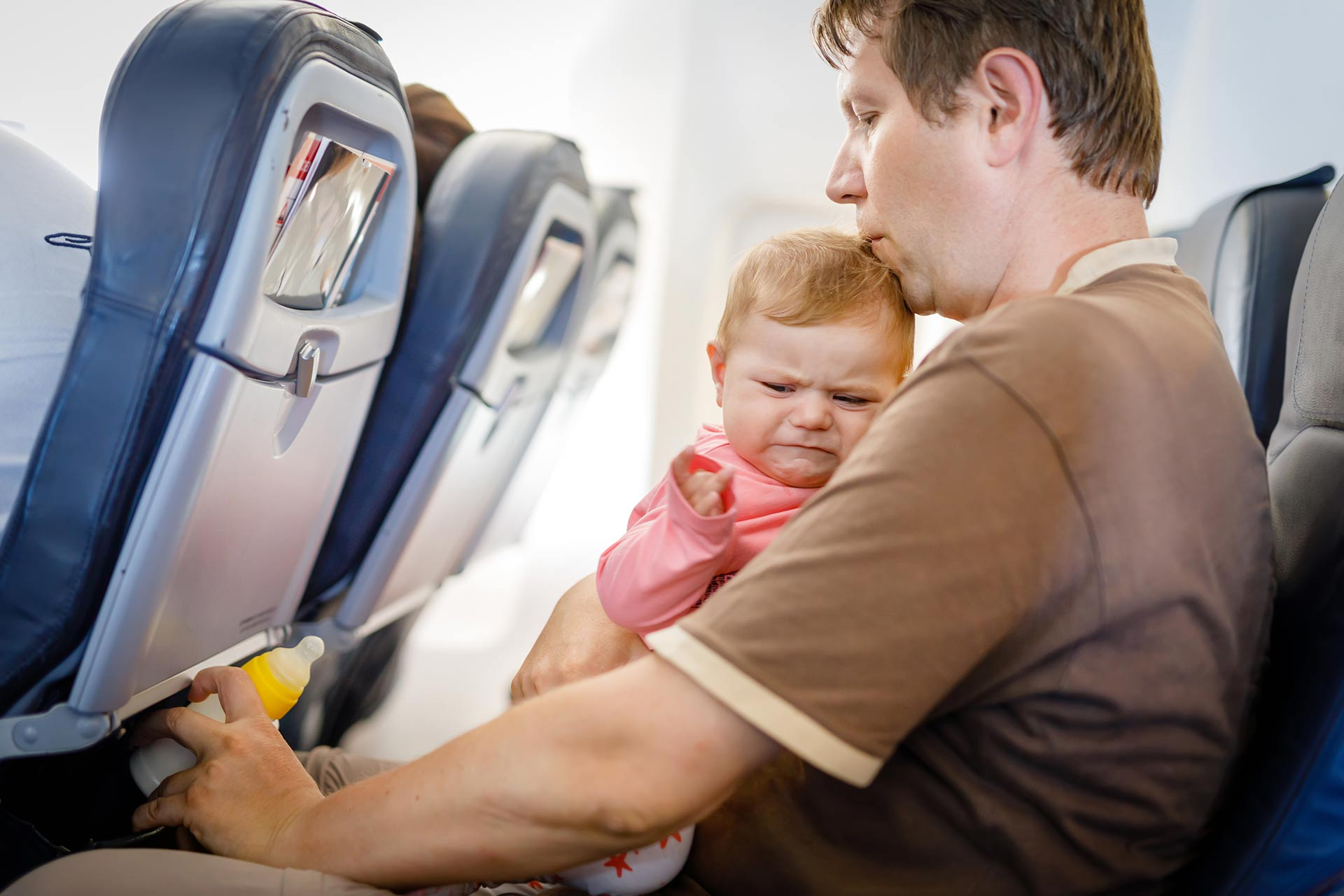 Crying baby on plane