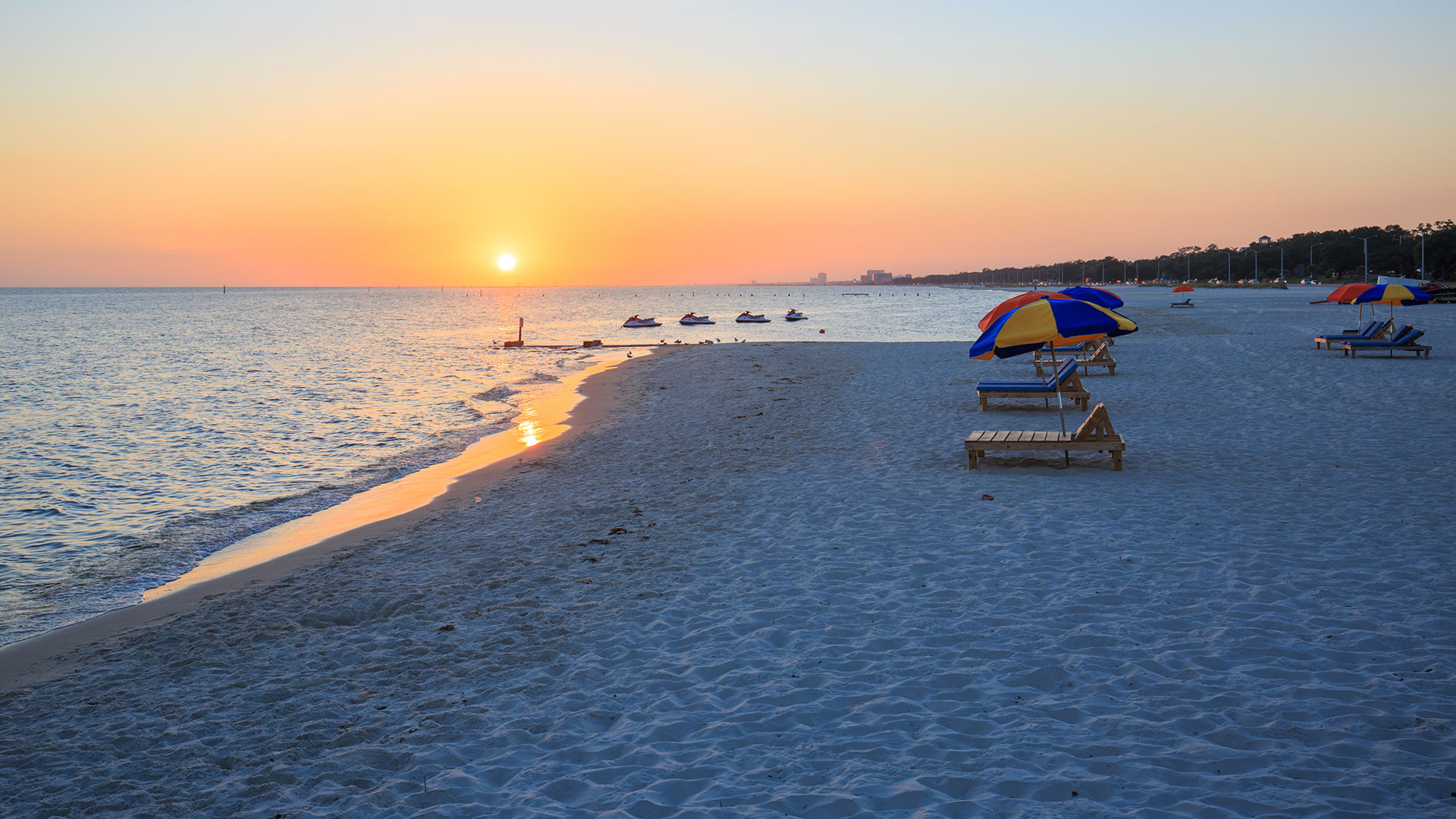 Biloxi beach at sunset; Courtesy of All Stock Photos/Shutterstock.com