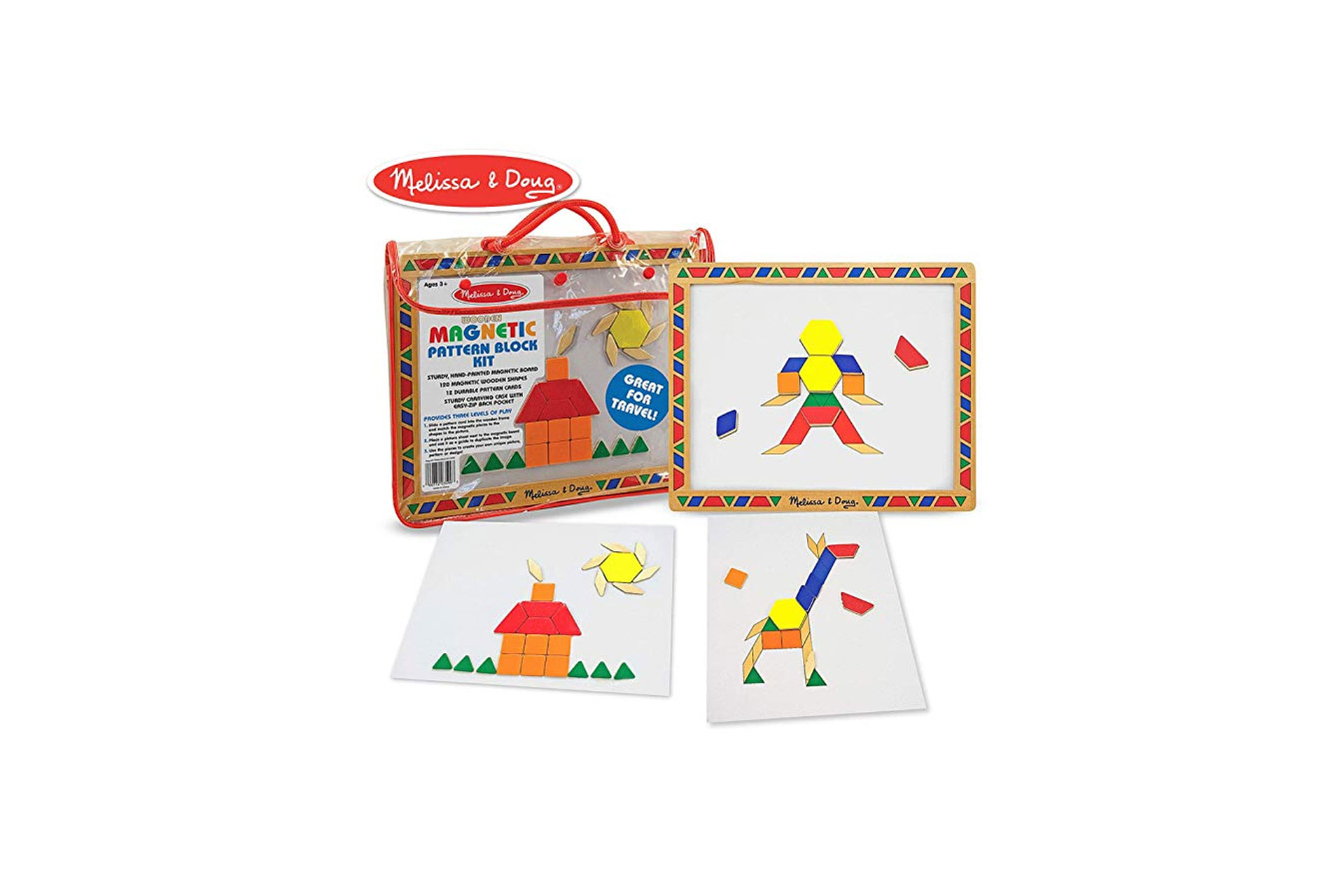 Melissa and Doug Deluxe Wooden Magnetic Pattern Blocks Set