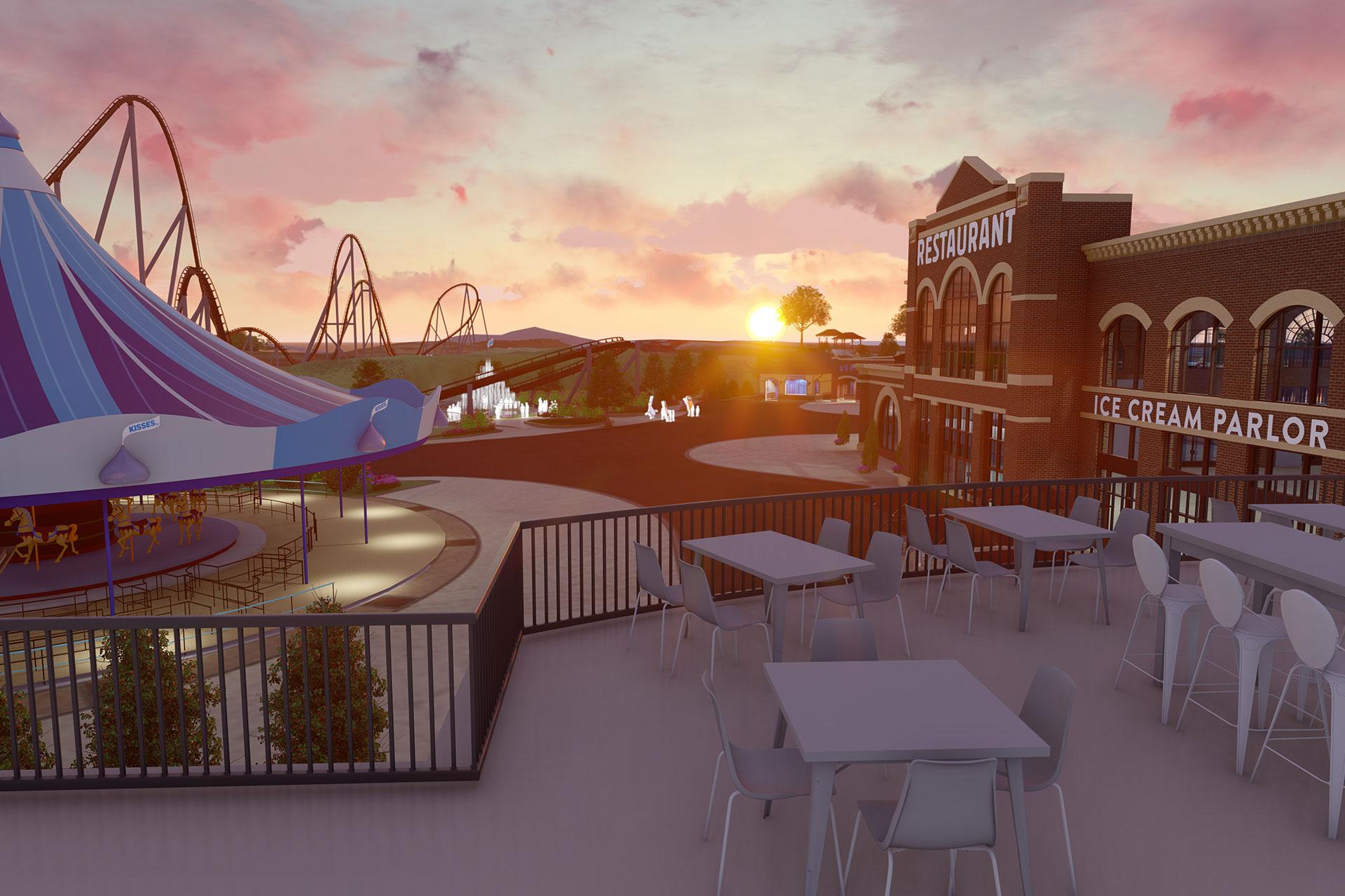 Rendering of Hersheypark's Chocolatetown; Courtesy of Hersheypark