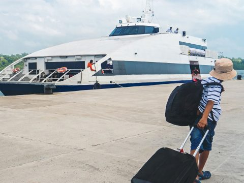 Young Boy with Cruise Luggage; Courtesy of diy13/Shutterstock.com