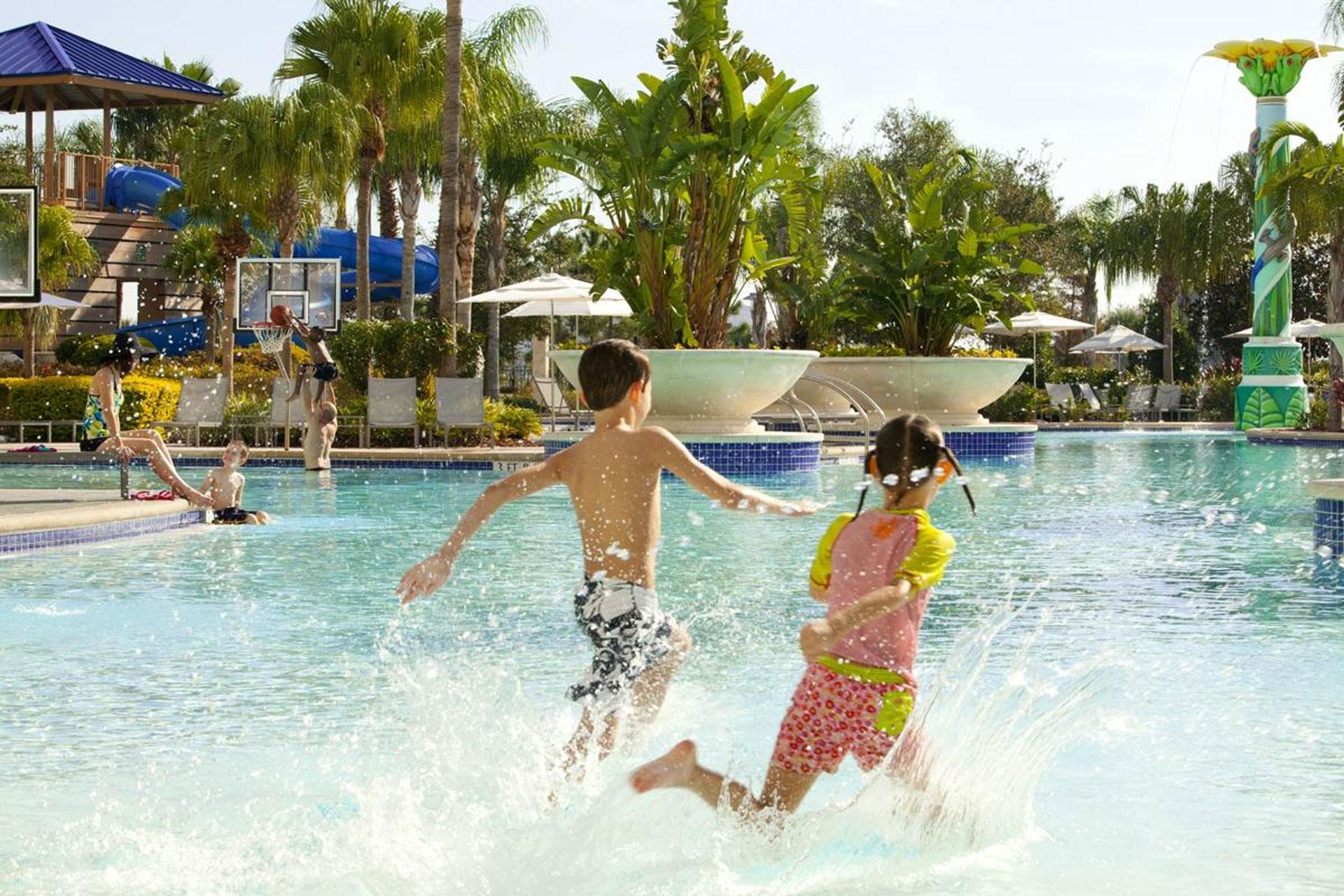 Kids Splashing in Pool at Hilton Orlando