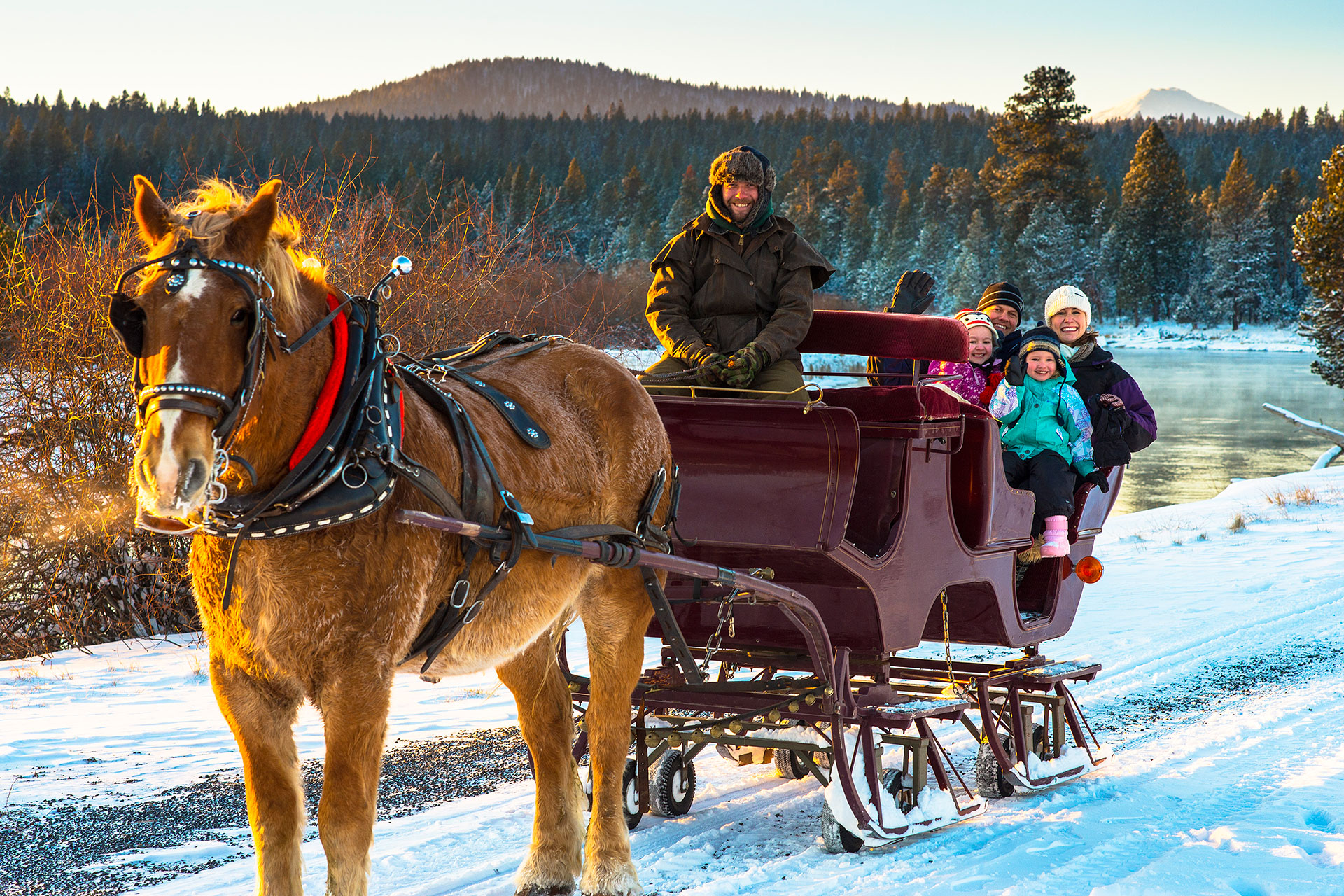 Horsedrawn Sleigh Ride at Sunriver Resort in Oregon