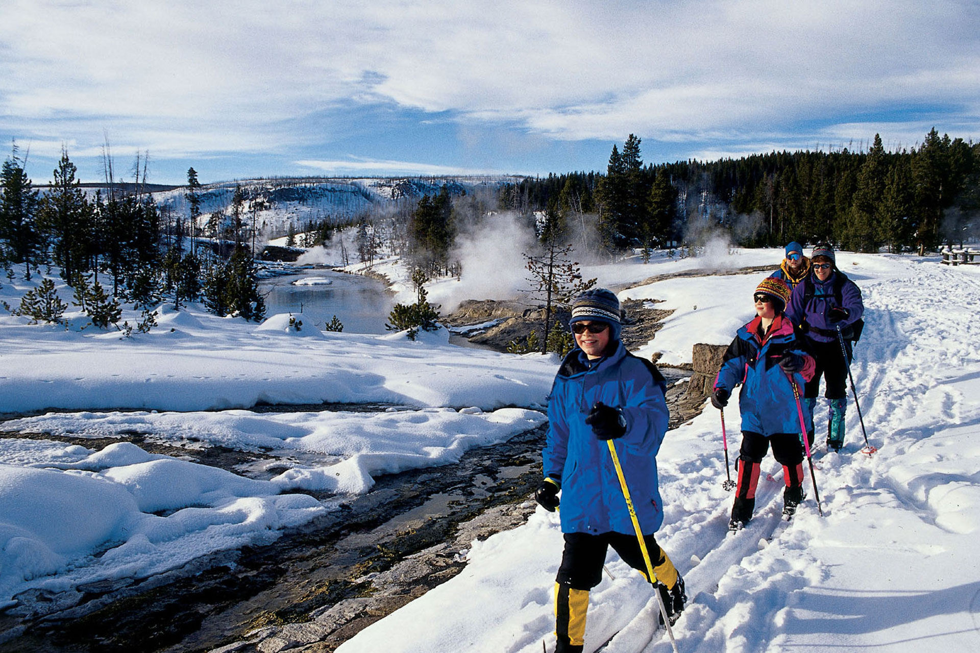 Cross-Country Skiing at Old Faithful Snow Lodge; Courtesy of Old Faithful Snow Lodge