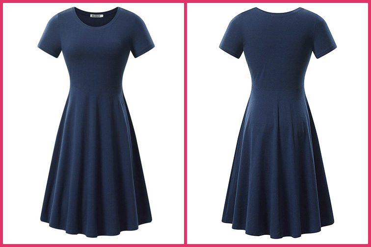 Woman Short Sleeved Casual Flaired Midi Travel Dress; Courtesy of Amazon