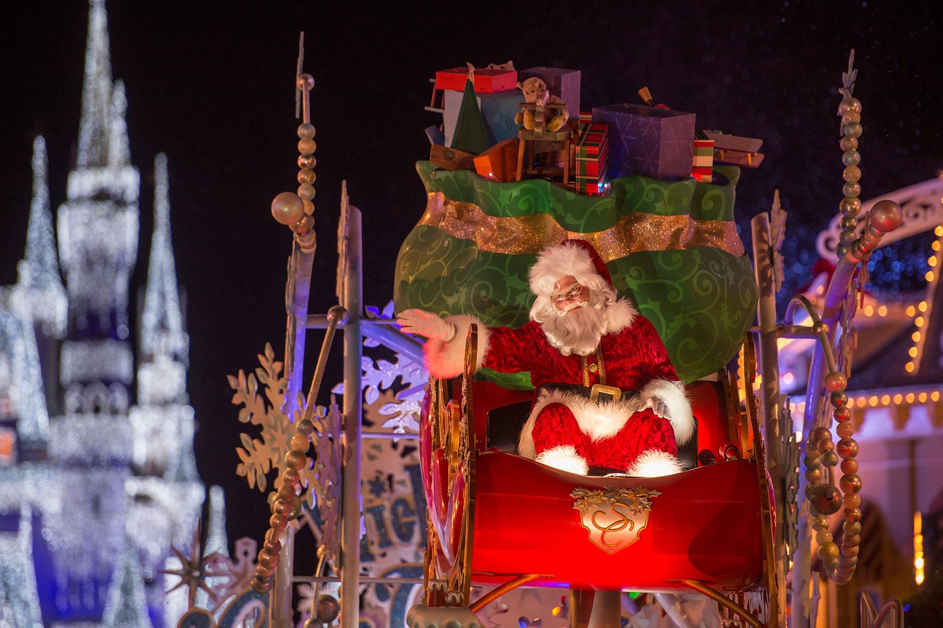 Santa in Holiday Parade at Mickey's Very Merry Christmas Party in Disney World; Courtesy of Disney