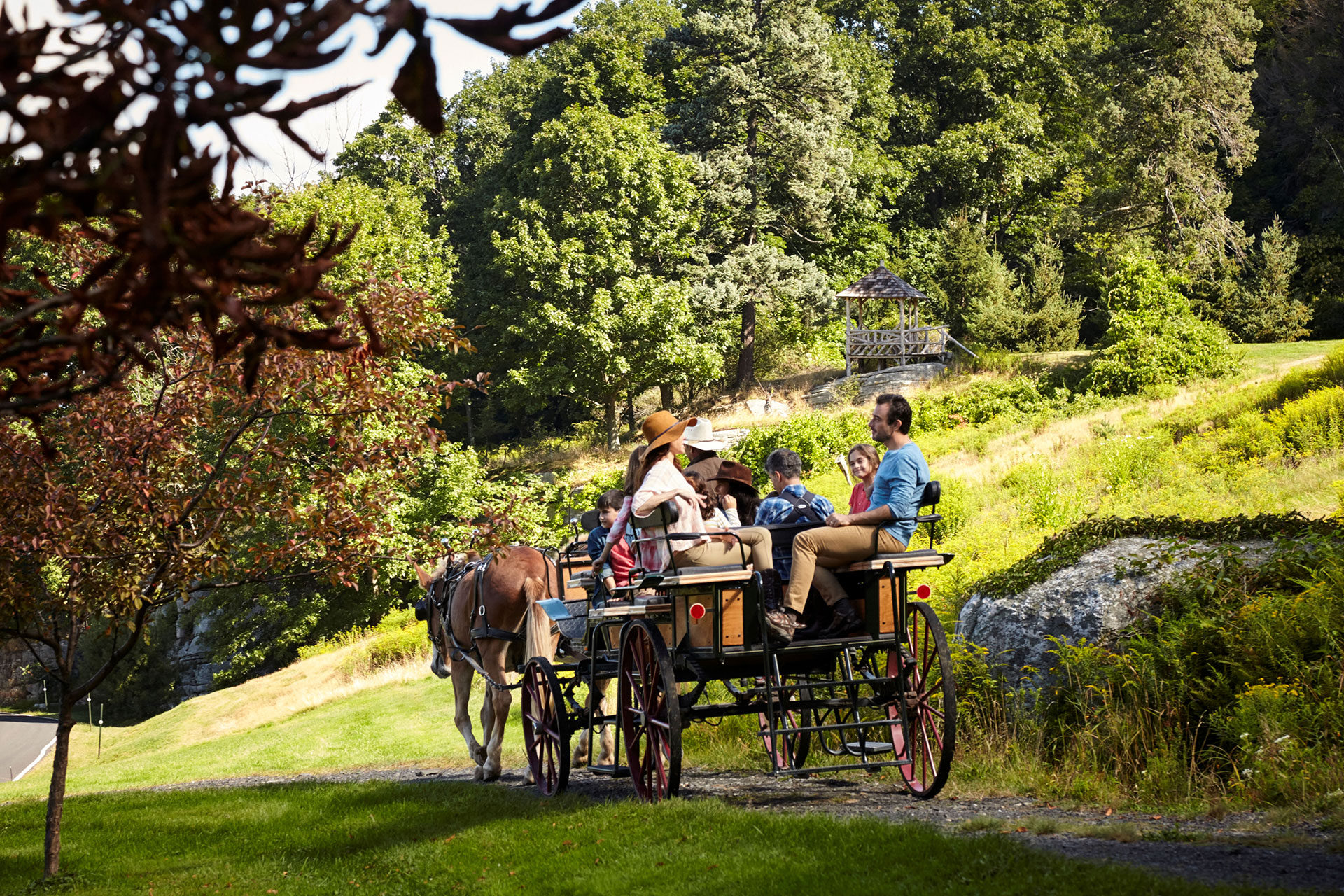 Family on Carriage Ride at Mohonk Mountain House in New Paltz, New York; Courtesy of Mohonk Mountain House