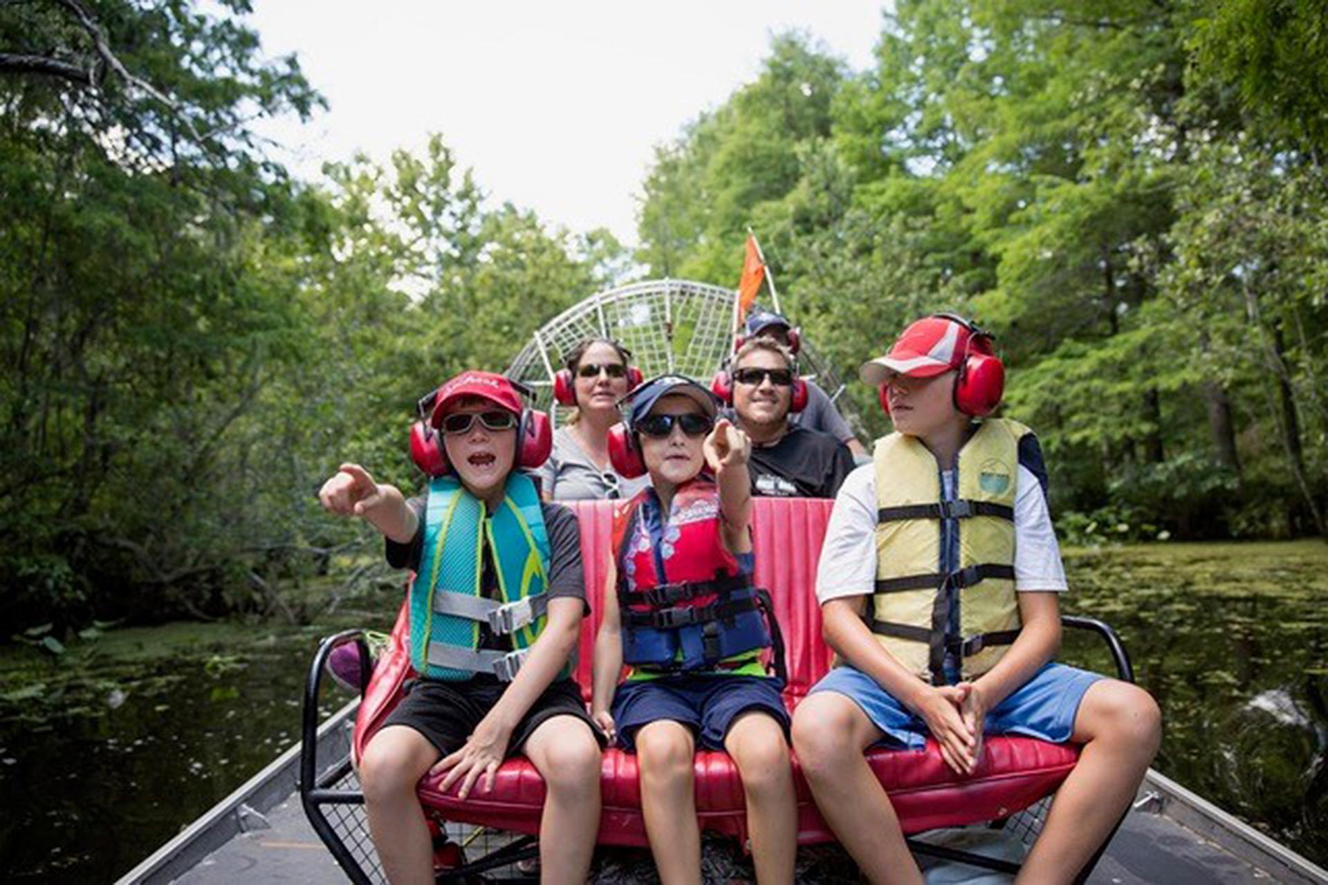 Family on Airboat Tour in Sebring, Florida; Courtesy of Visit Sebring