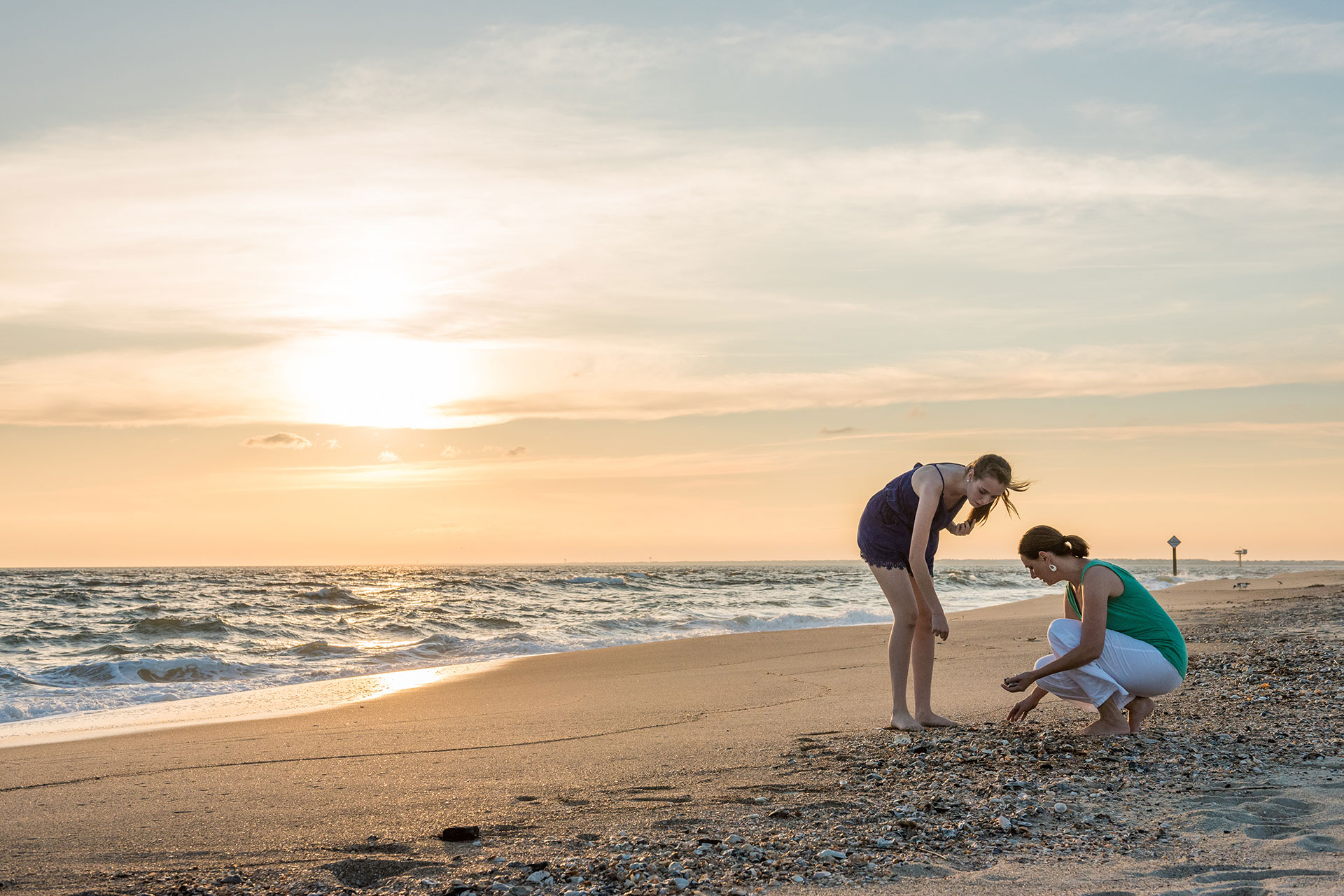 Mother and Daughter on Beach on Bald Head Island, North Carolina; Courtesy of VisitNC.com