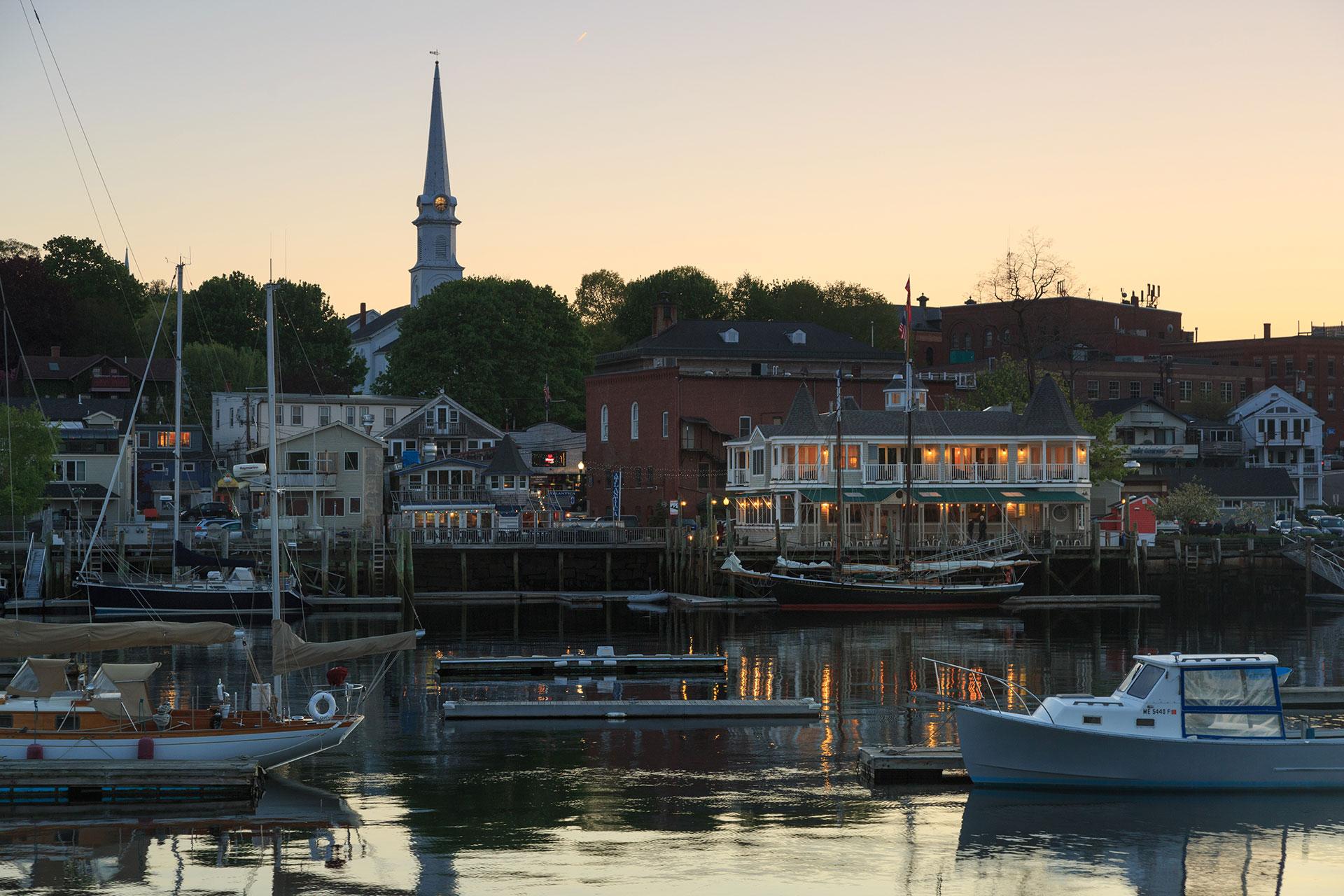 Camden, Maine Harbor at Sunset; Courtesy of Grand Harbor Inn