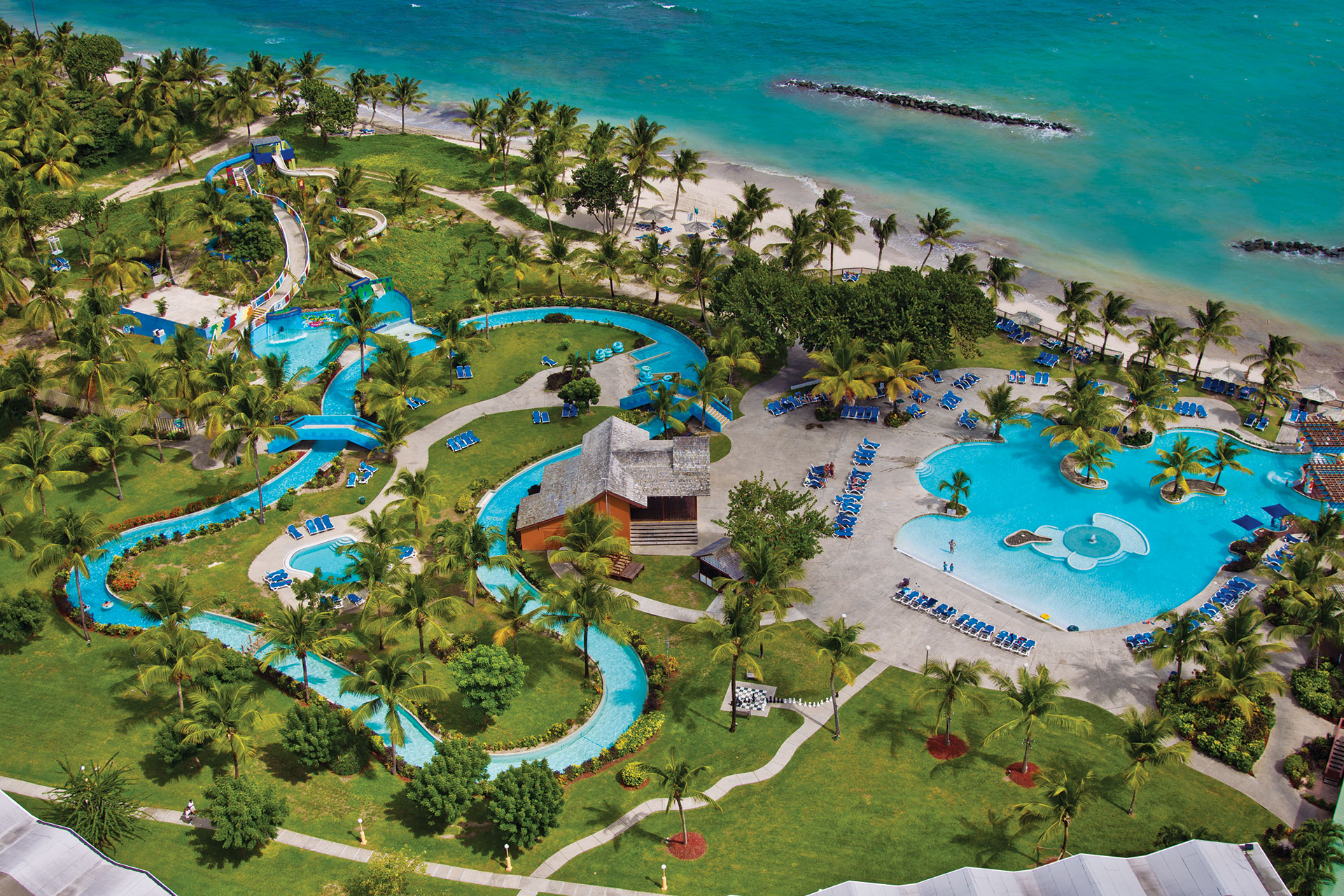 Aerial View of Water Park at Coconut Bay Beach Resort & Spa; Courtesy of Coconut Bay Beach Resort & Spa