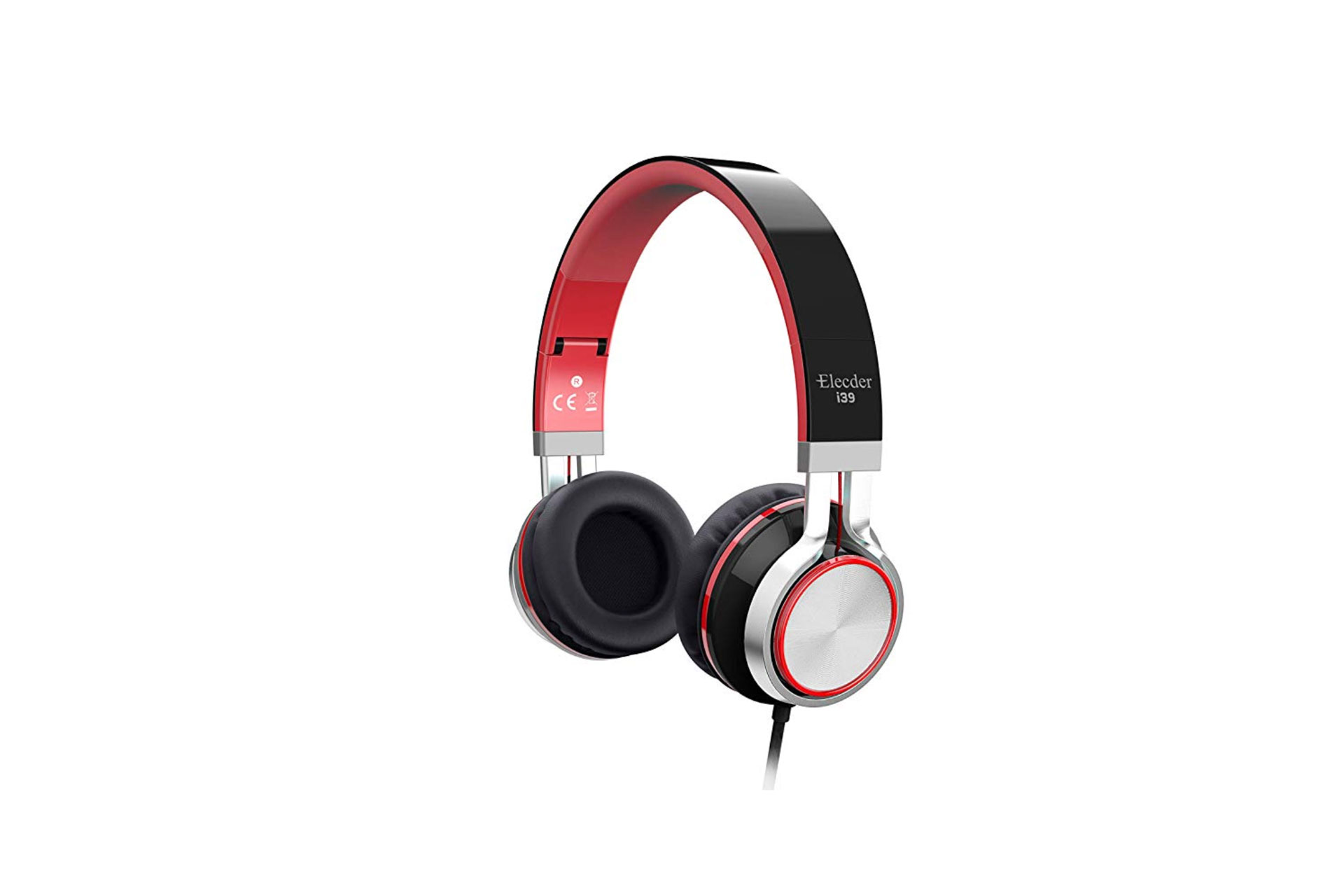 Elecder i39 Headphones with Microphone in Red; Courtesy of Amazon