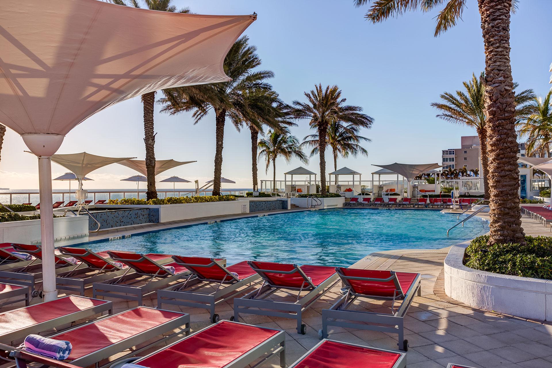Pool at Hilton Fort Lauderdale Beach Resort; Courtesy of Hilton Fort Lauderdale Beach Resort