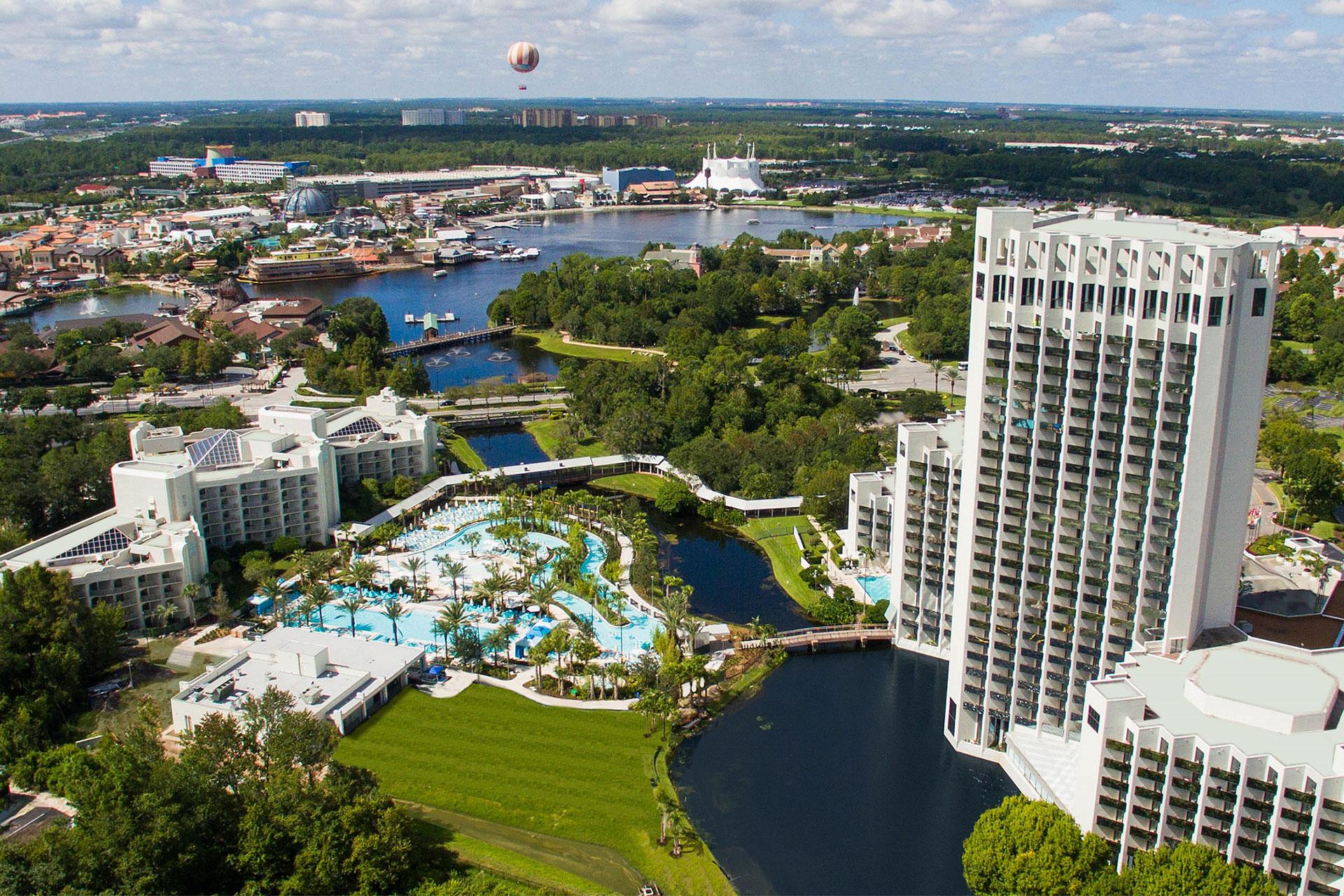 Aerial View of Hilton Orlando Buena Vista Palace; Courtesy of Hilton Orlando Buena Vista Palace