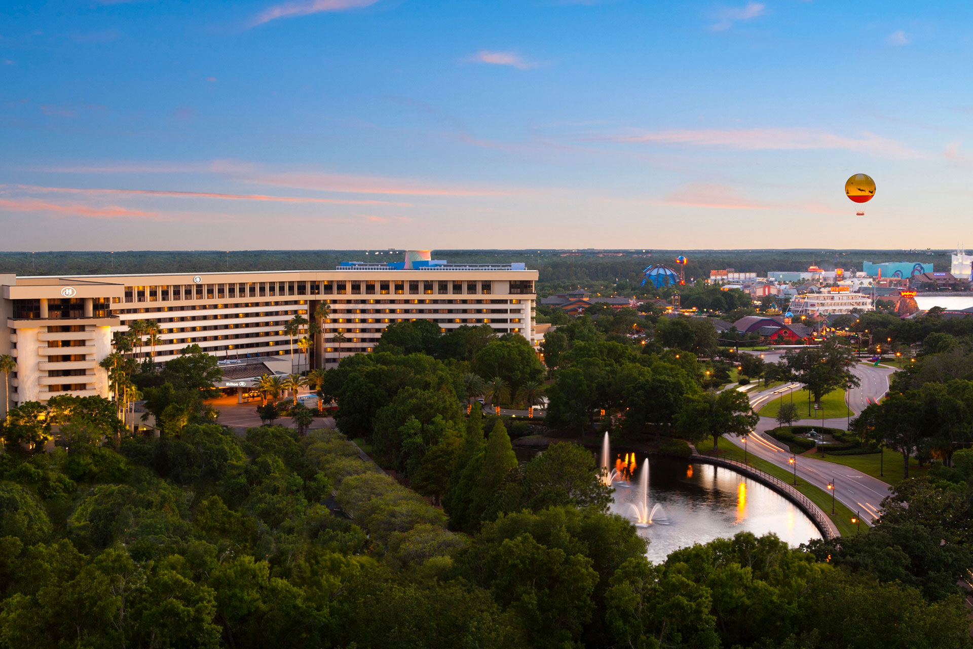 Aerial View of Hilton Orlando Lake Buena Vista - Disney Springs Area; Courtesy of Hilton Orlando Lake Buena Vista - Disney Springs Area