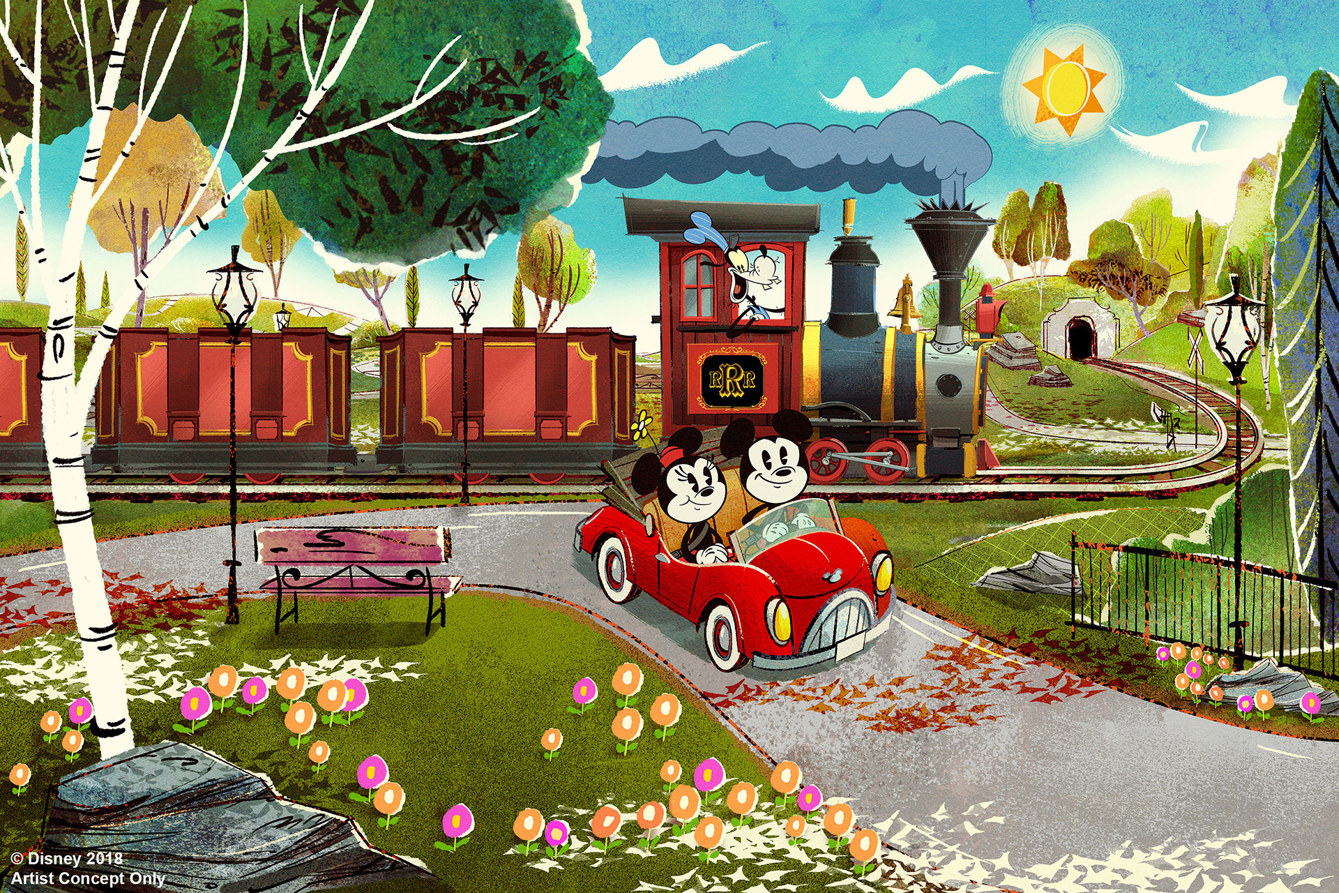 Rendering of Mickey and Minnie's Runaway Railway; Courtesy of Disney