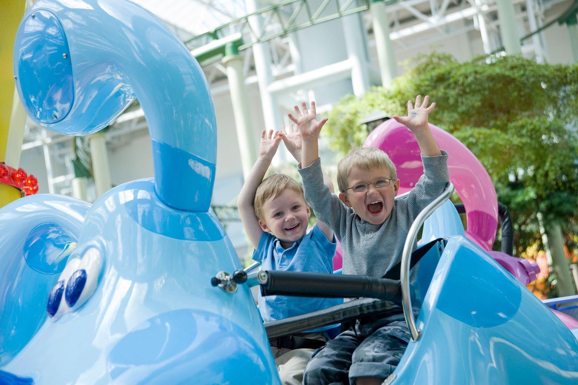 Young Kids on Ride at Nickelodeon Universe at the Mall of America