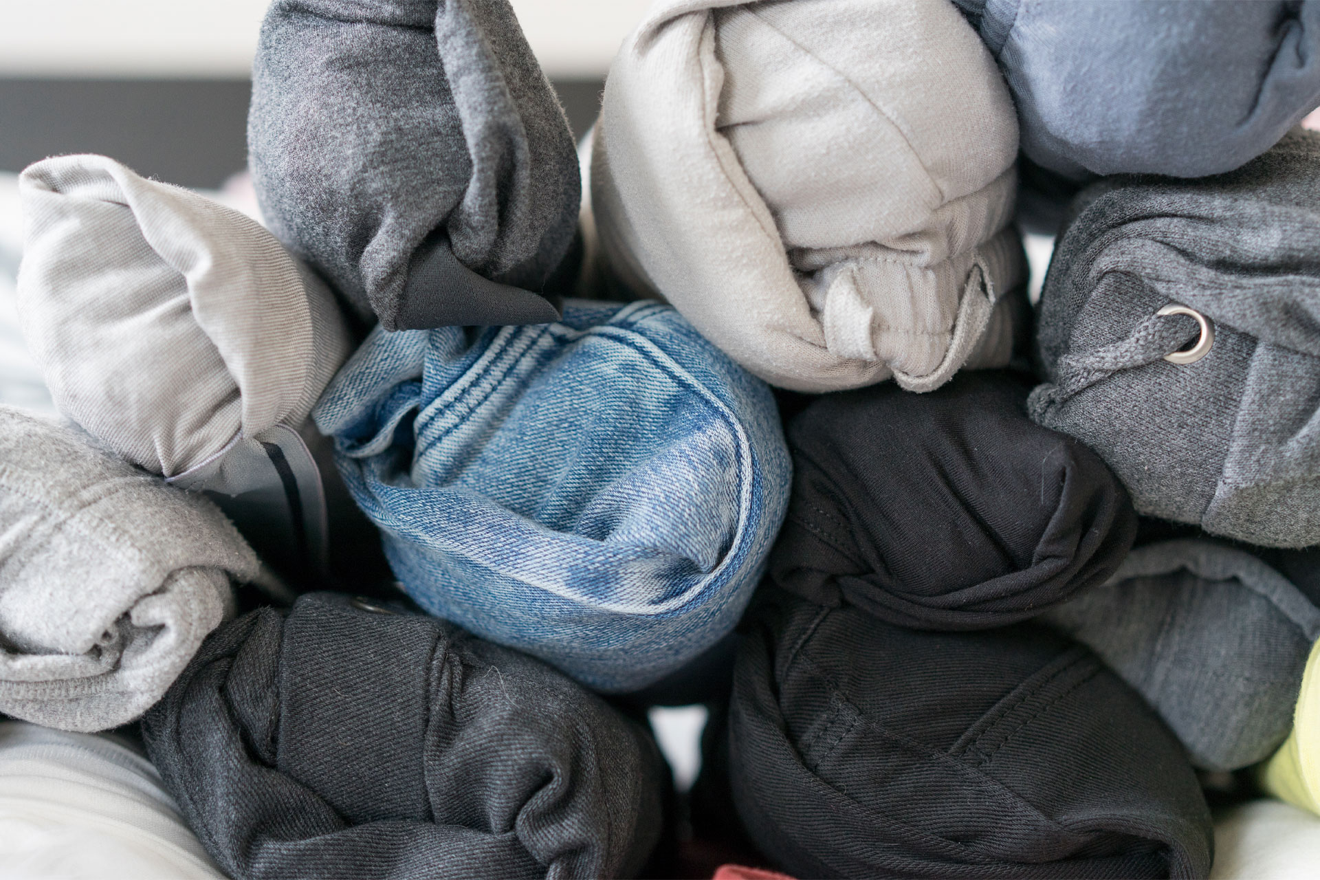 Rolled Clothes; Courtesy of BBPPHOTO/Shutterstock.com