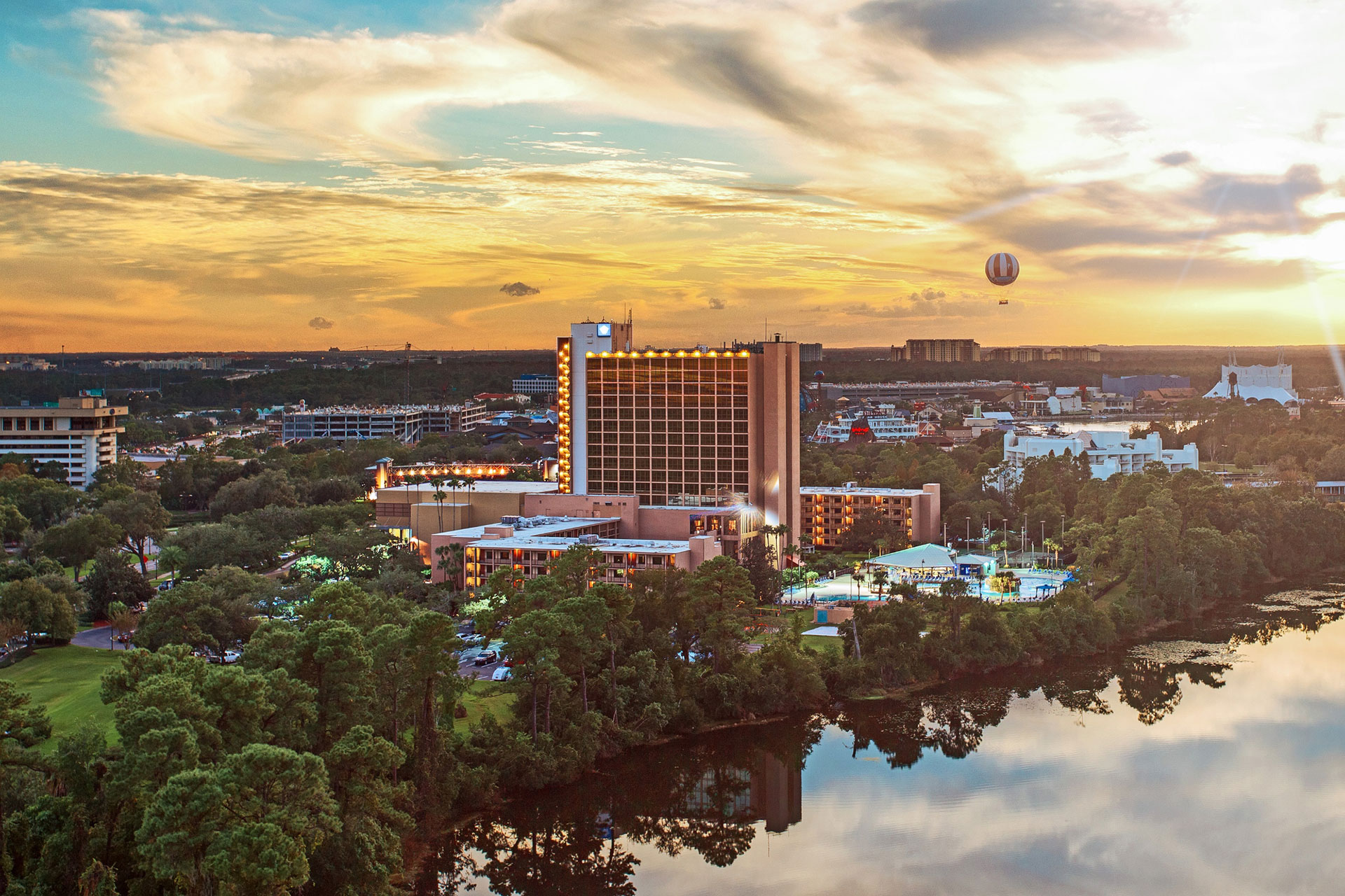 Aerial View of Wyndham Lake Buena Vista Disney Springs Resort Area; Courtesy of Wyndham Lake Buena Vista Disney Springs Resort Area